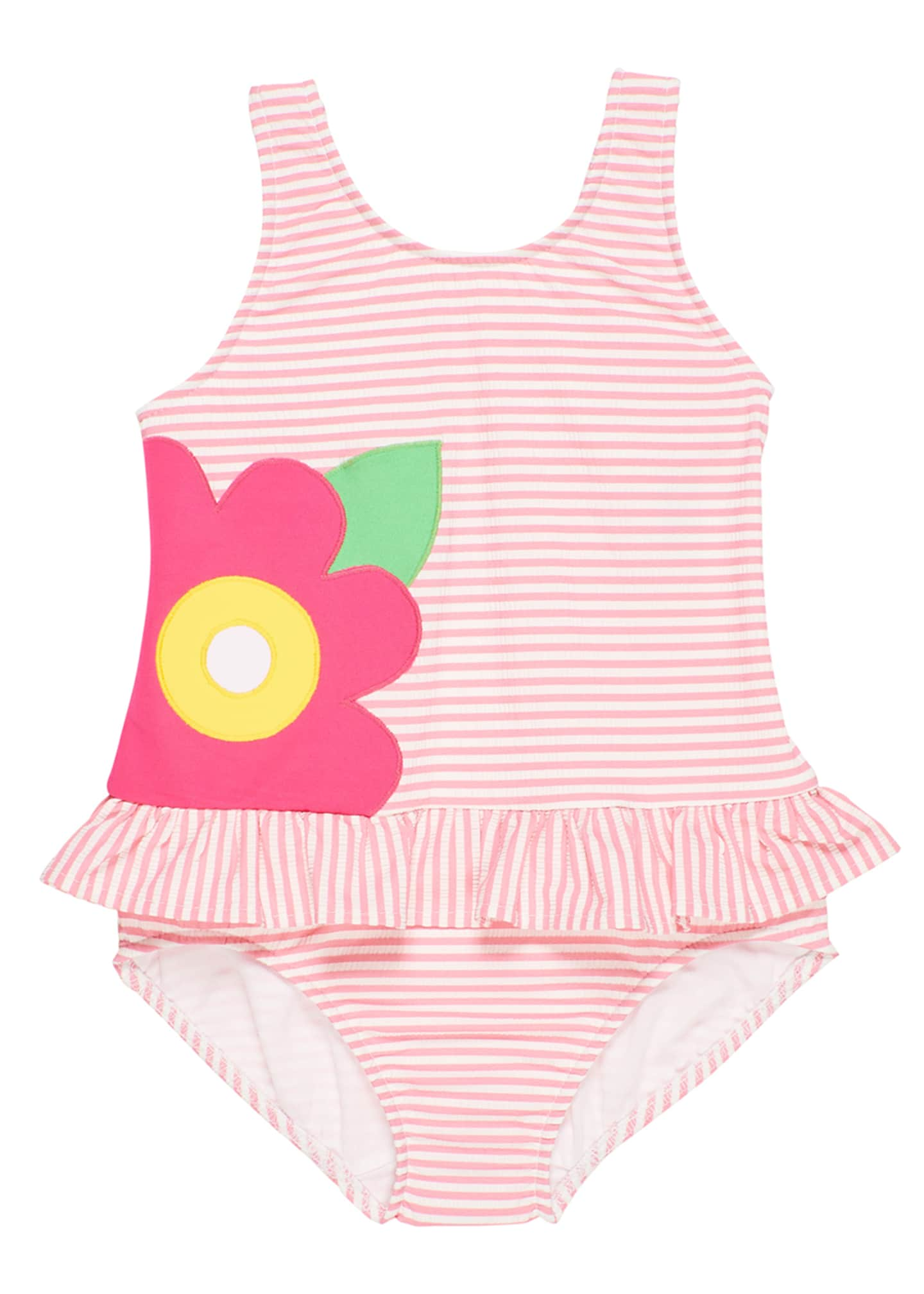 Image 1 of 2: Striped Seersucker Ruffle Skirt One-Piece Swimsuit, Size 2-6X