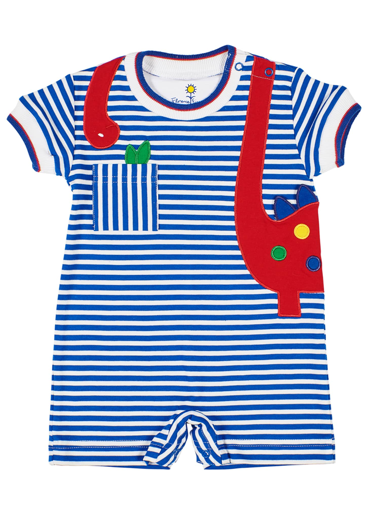 Florence Eiseman Stripe Knit Shortall w/ Dinosaur Applique,