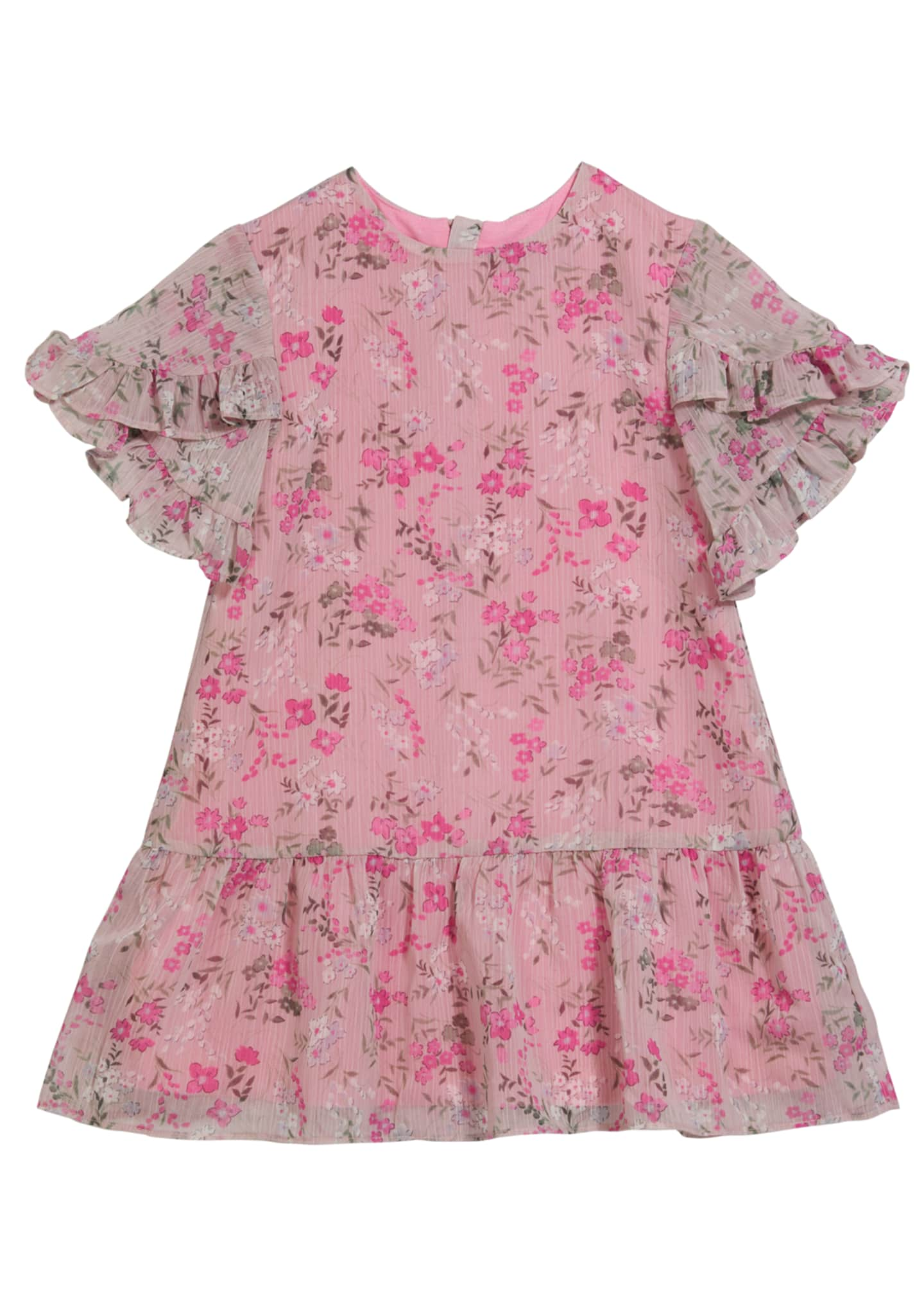 Image 1 of 1: Girl's Rainer Floral-Print Ruffle Sleeve Dress, Size 7-14