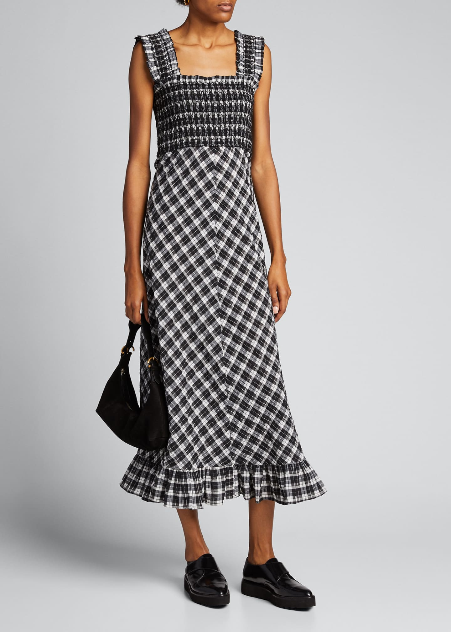 Ganni Seersucker Check Sleeveless Midi Dress Bergdorf Goodman