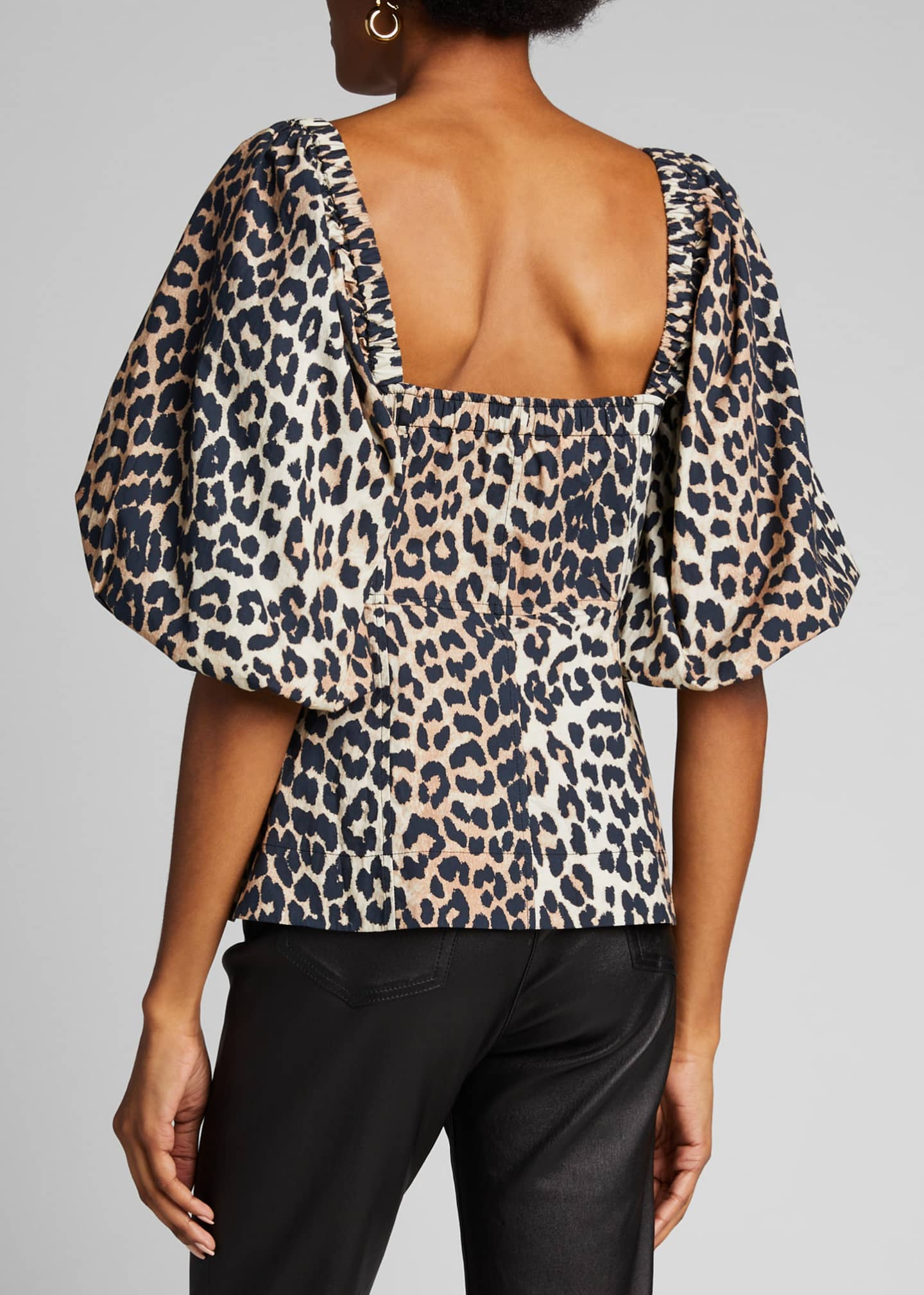 Image 2 of 5: Leopard-Print Poplin Button-Down Top