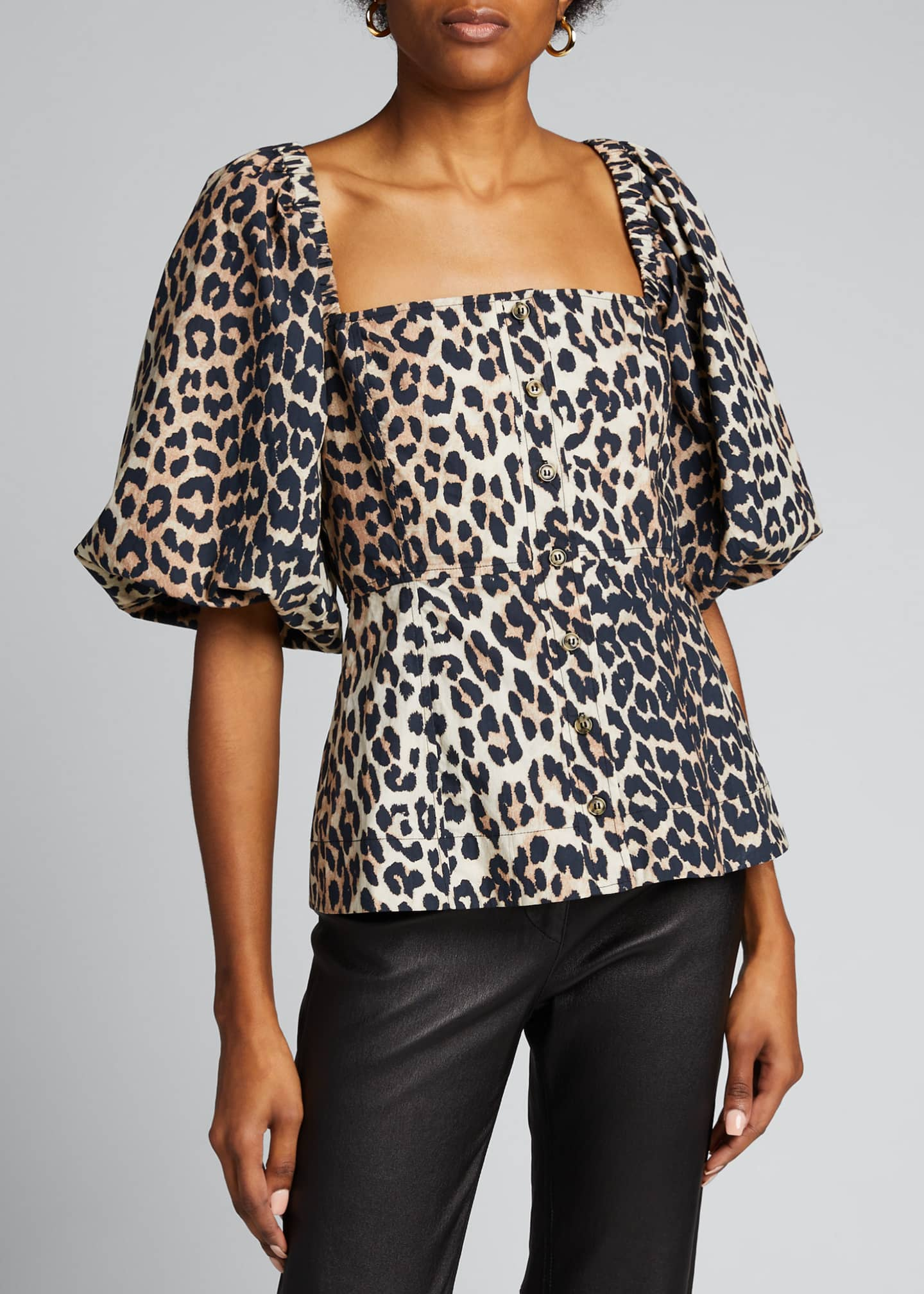 Image 3 of 5: Leopard-Print Poplin Button-Down Top
