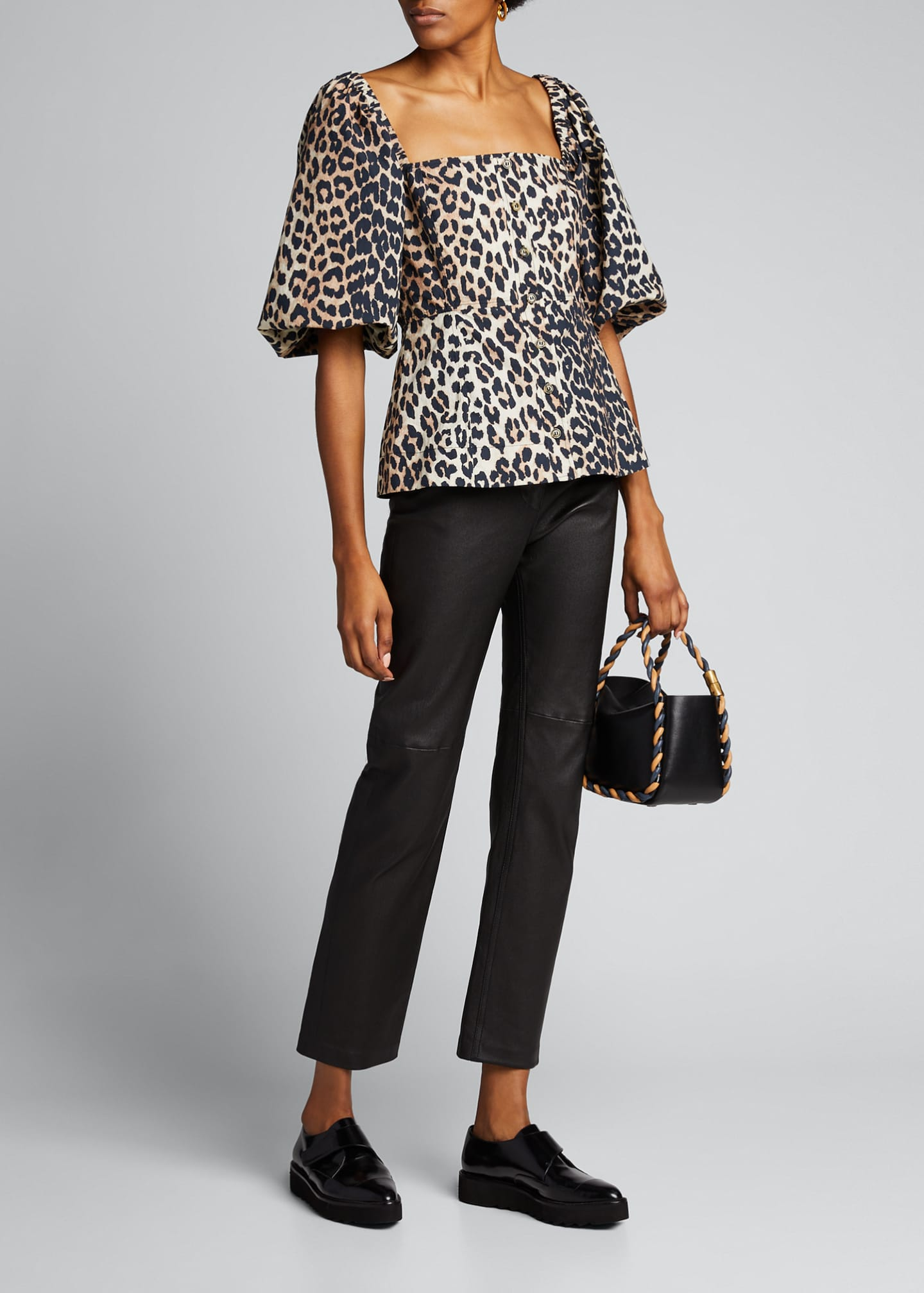 Image 1 of 5: Leopard-Print Poplin Button-Down Top