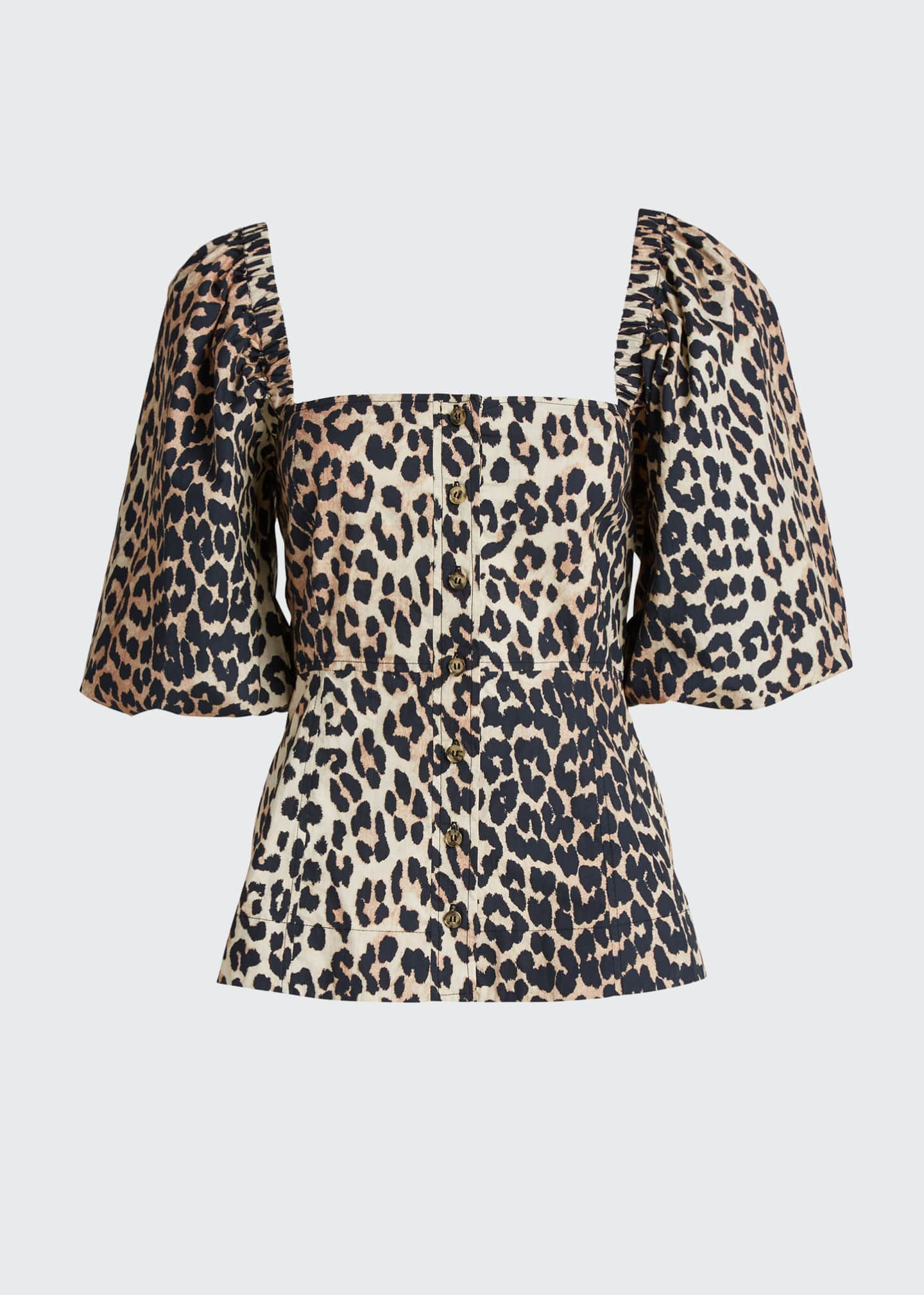 Image 5 of 5: Leopard-Print Poplin Button-Down Top