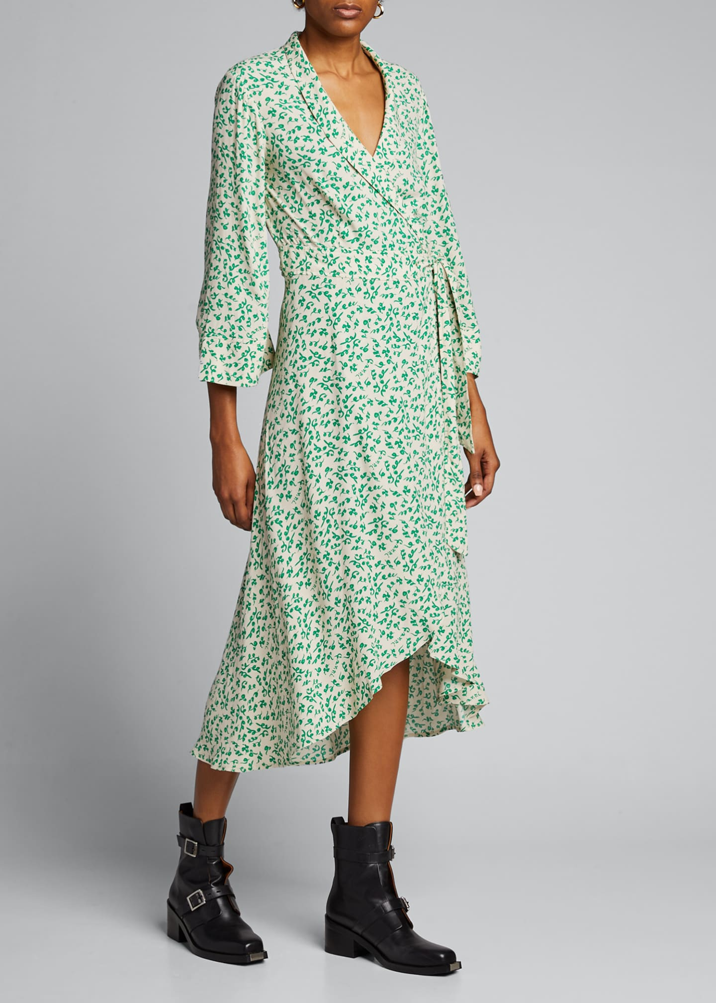 Image 3 of 5: Printed Crepe High-Low Wrap Dress