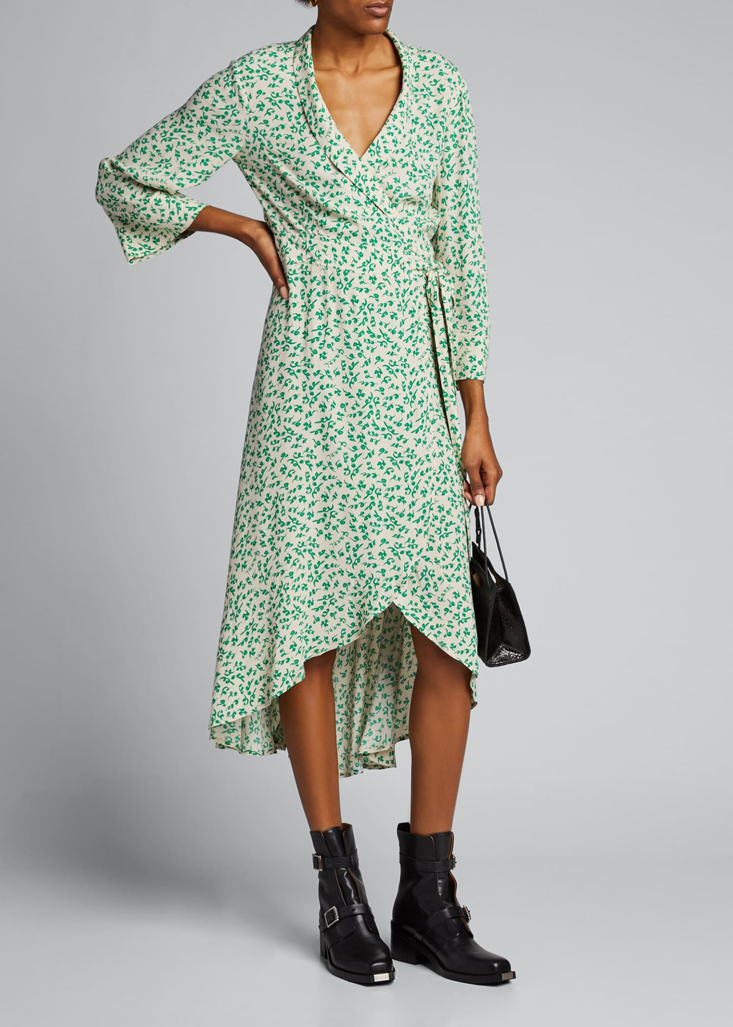 Image 1 of 5: Printed Crepe High-Low Wrap Dress