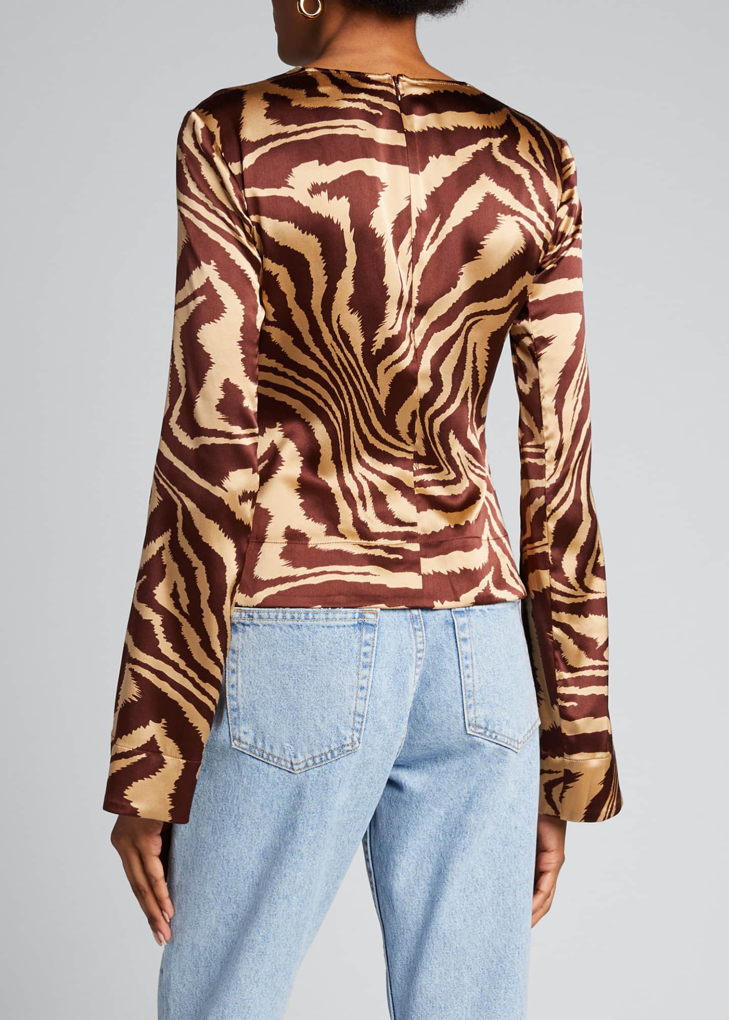 Image 2 of 5: Stretch Satin Cutout Long-Sleeve Blouse