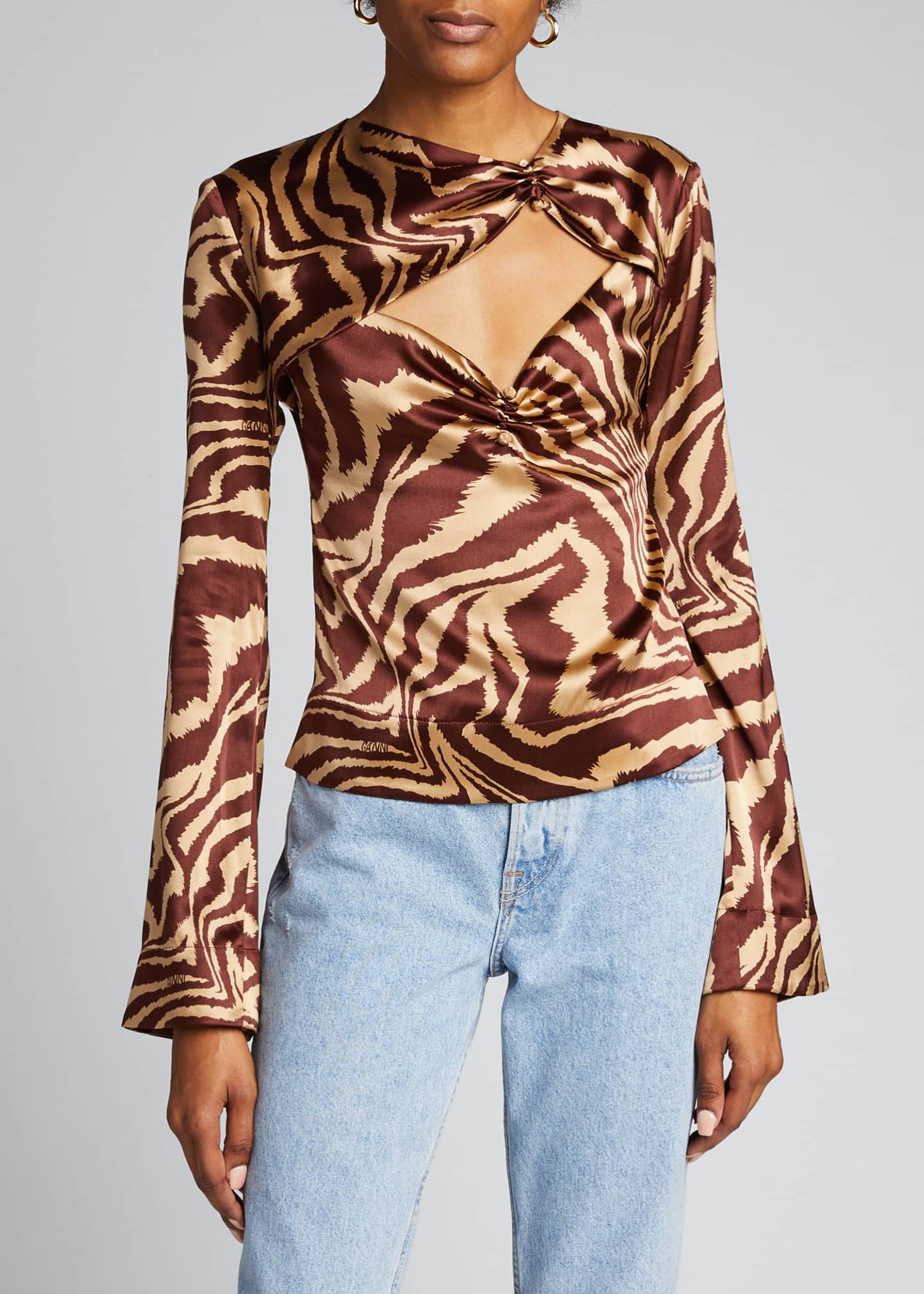 Image 3 of 5: Stretch Satin Cutout Long-Sleeve Blouse