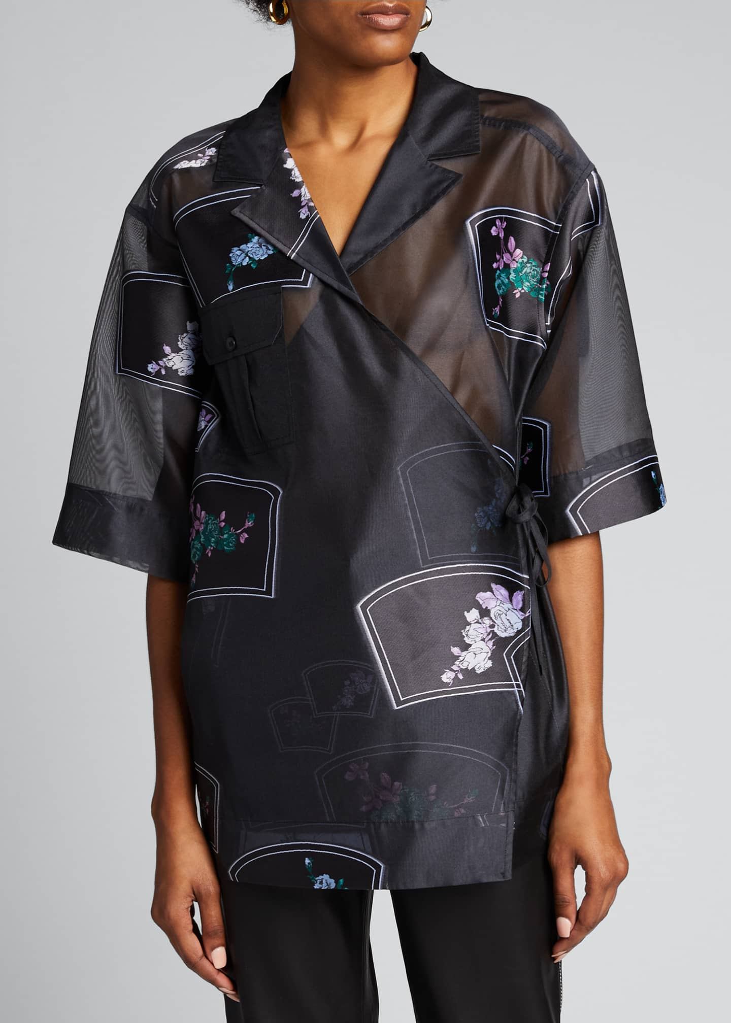 Image 3 of 5: Patch Organza Wrap Blouse