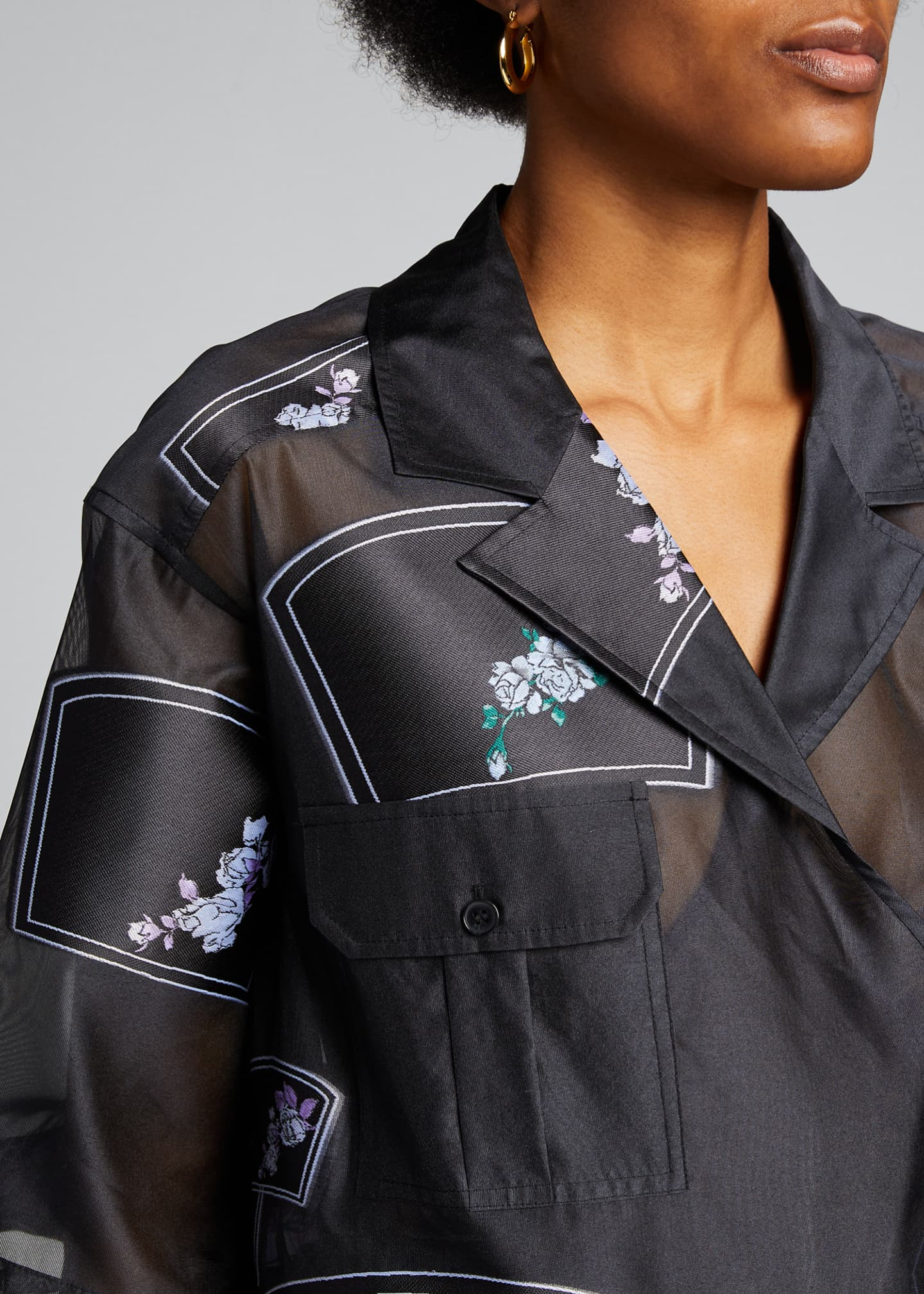 Image 4 of 5: Patch Organza Wrap Blouse
