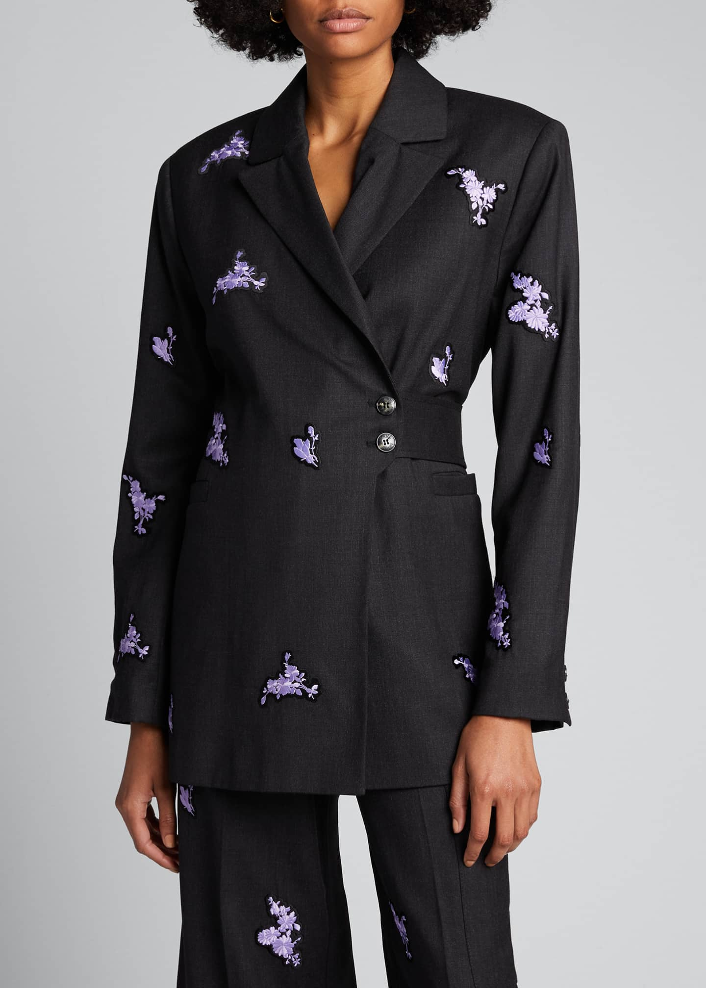 Image 3 of 5: Embroidered Light Wool Blazer