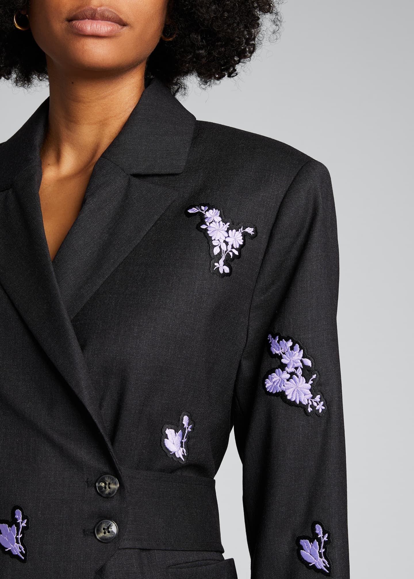 Image 4 of 5: Embroidered Light Wool Blazer