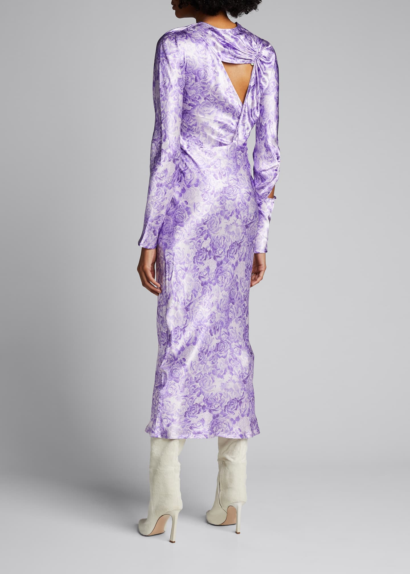 Image 2 of 5: Long-Sleeve Heavy Satin Dress