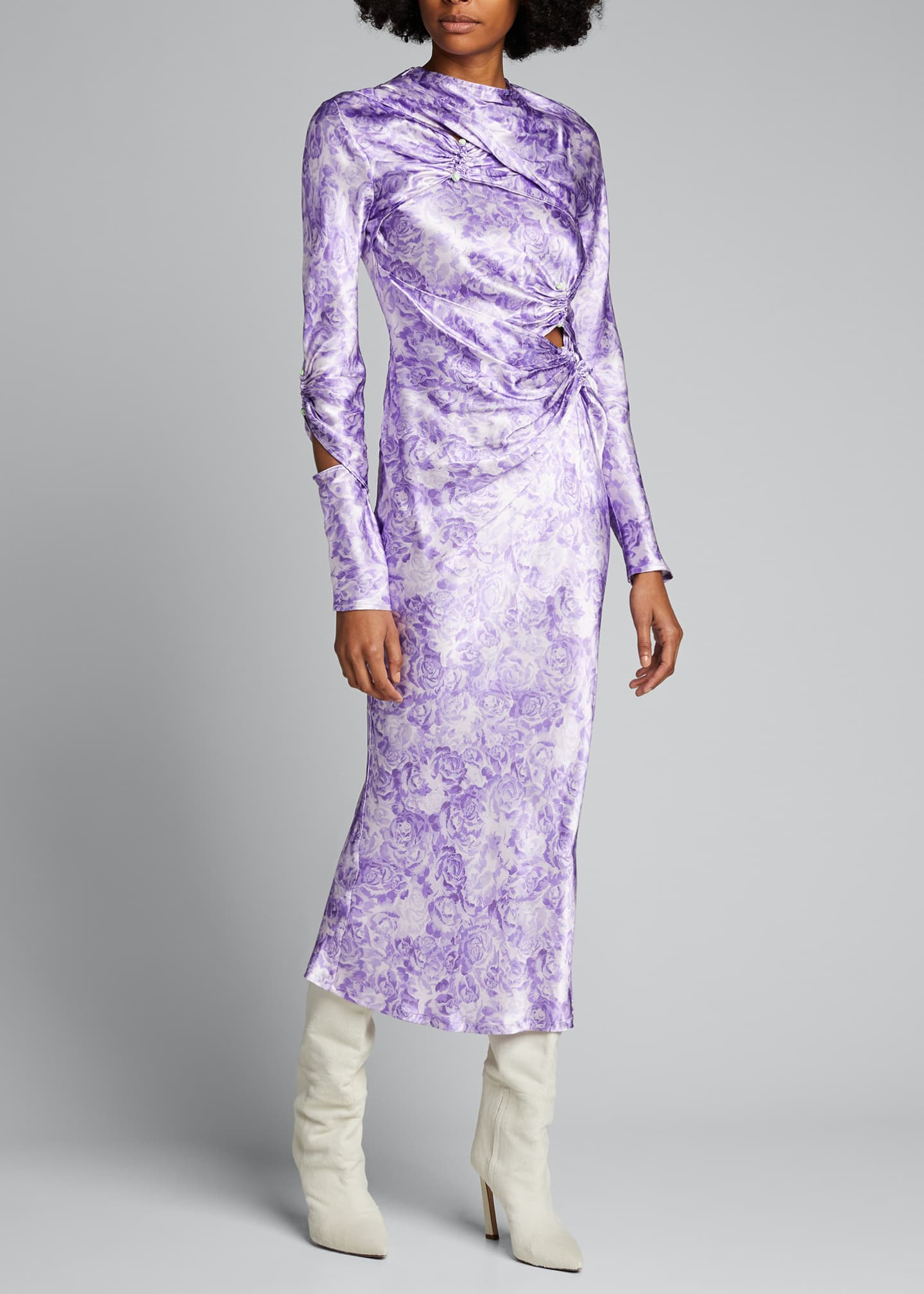 Image 3 of 5: Long-Sleeve Heavy Satin Dress