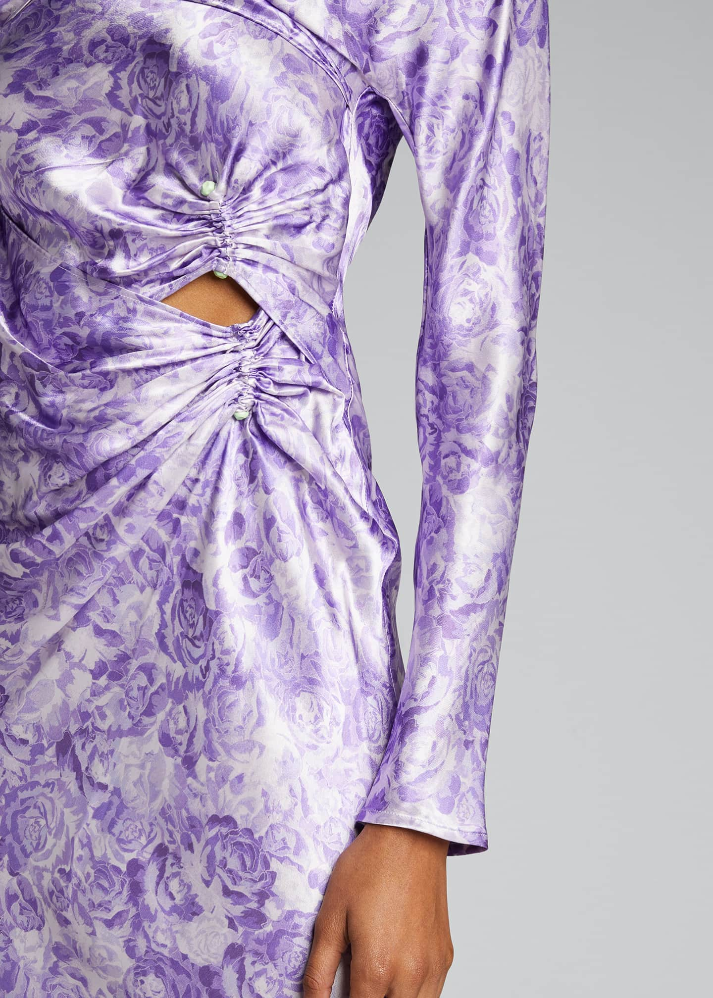 Image 4 of 5: Long-Sleeve Heavy Satin Dress