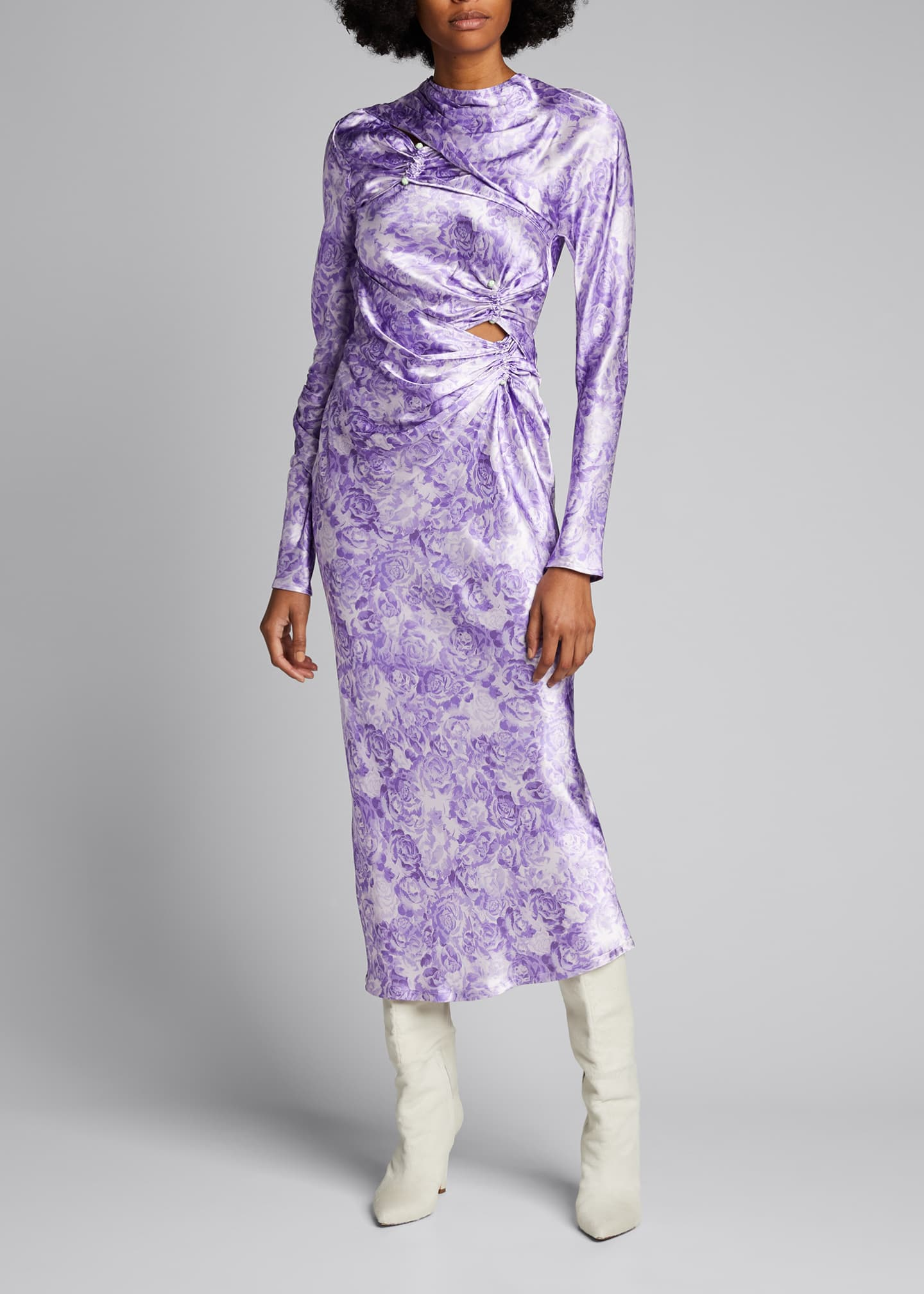 Image 1 of 5: Long-Sleeve Heavy Satin Dress