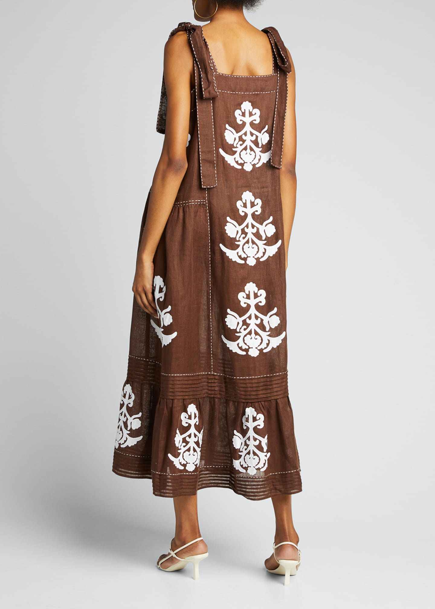 Image 2 of 5: Daisy-Embroidered Pleated-Linen Sundress