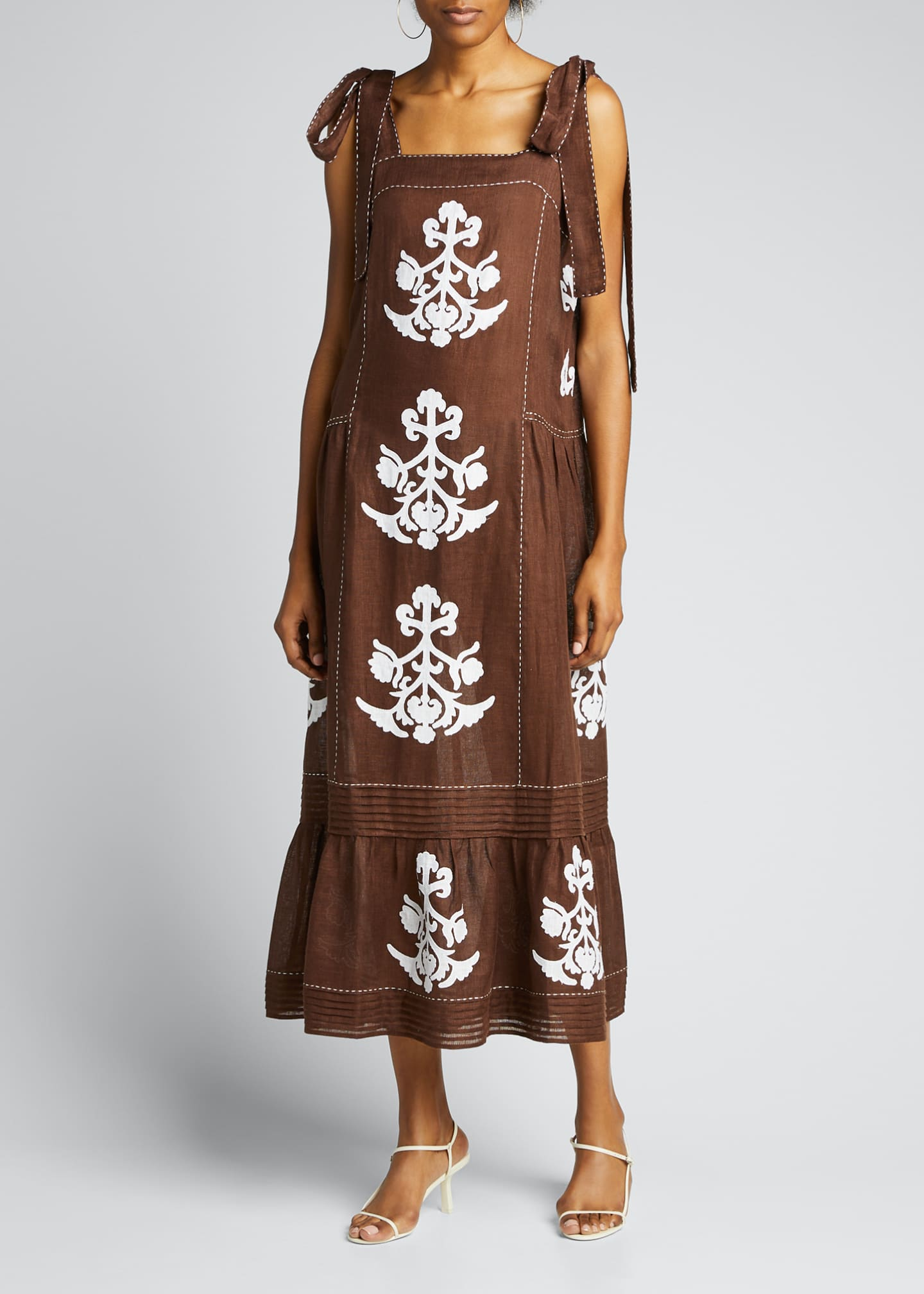 Image 3 of 5: Daisy-Embroidered Pleated-Linen Sundress