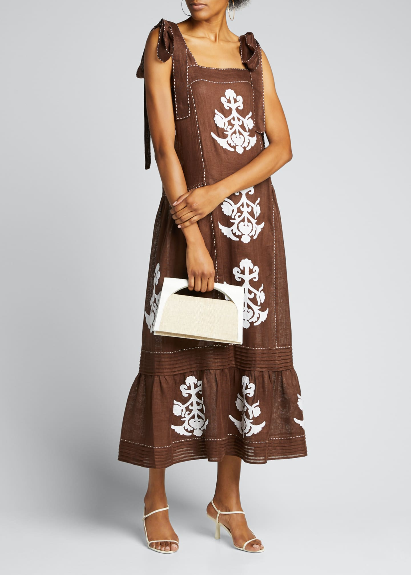 Image 1 of 5: Daisy-Embroidered Pleated-Linen Sundress