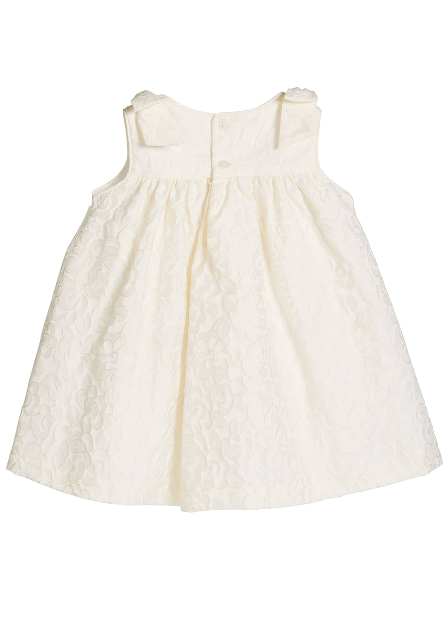 Image 2 of 2: Girl's Ivory Dress with Bow Shoulders, Size 3-18 Months