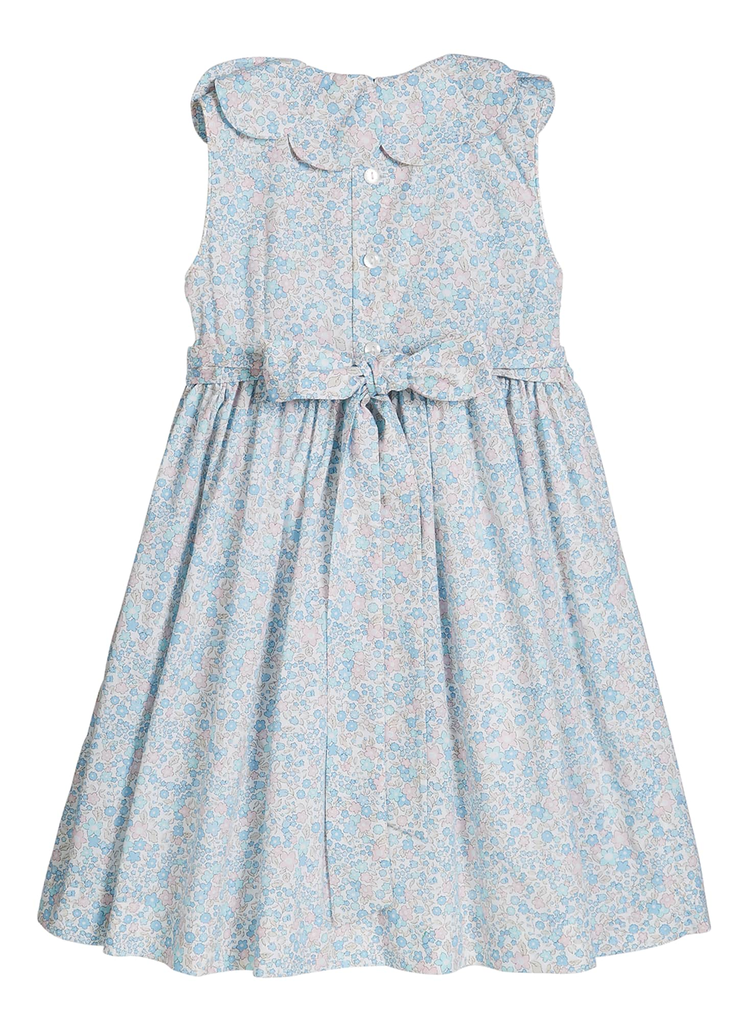 Image 2 of 2: Girl's Floral Print Petal Collar Smocked Dress, Size 4-6X