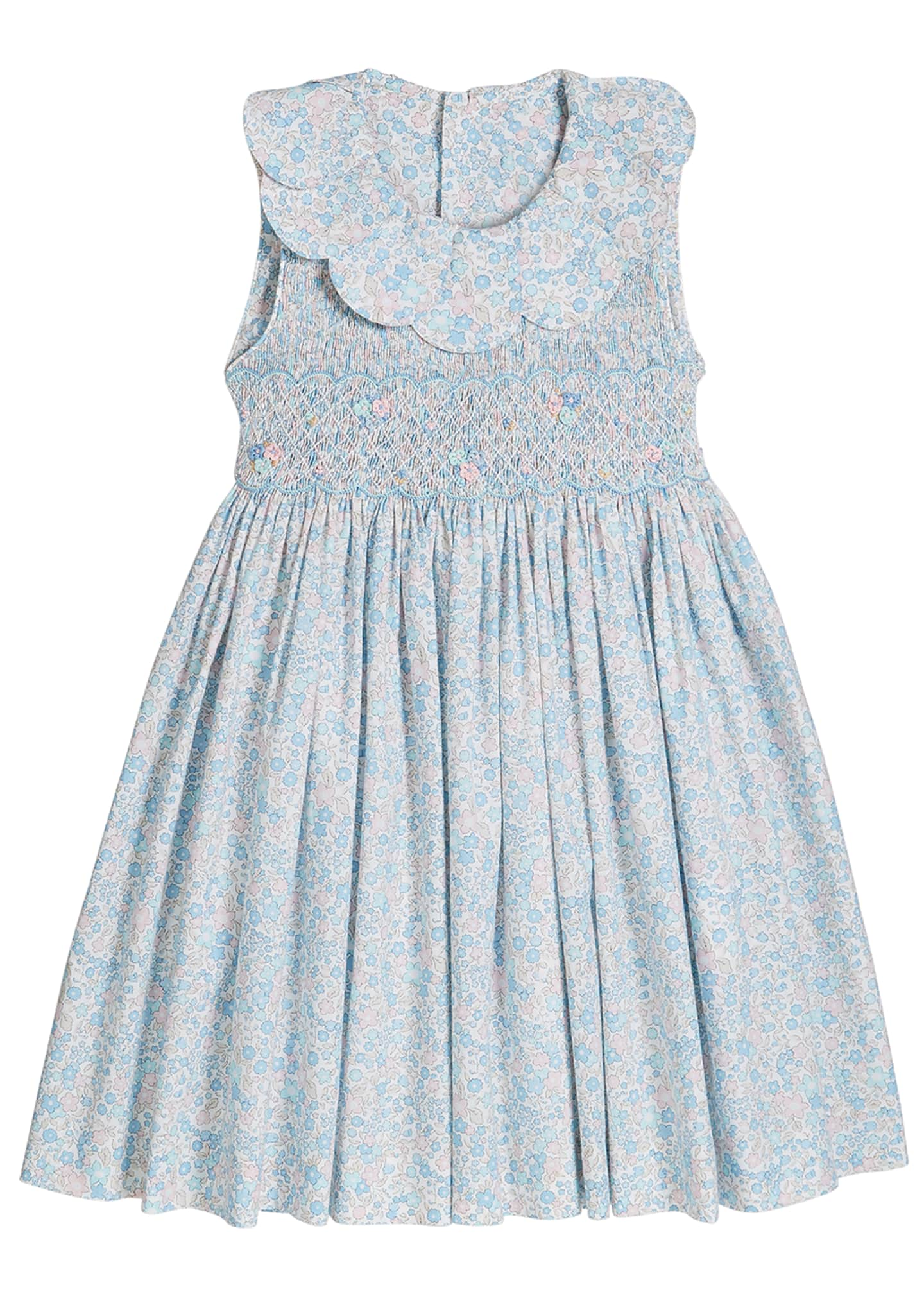 Image 1 of 2: Girl's Floral Print Petal Collar Smocked Dress, Size 4-6X