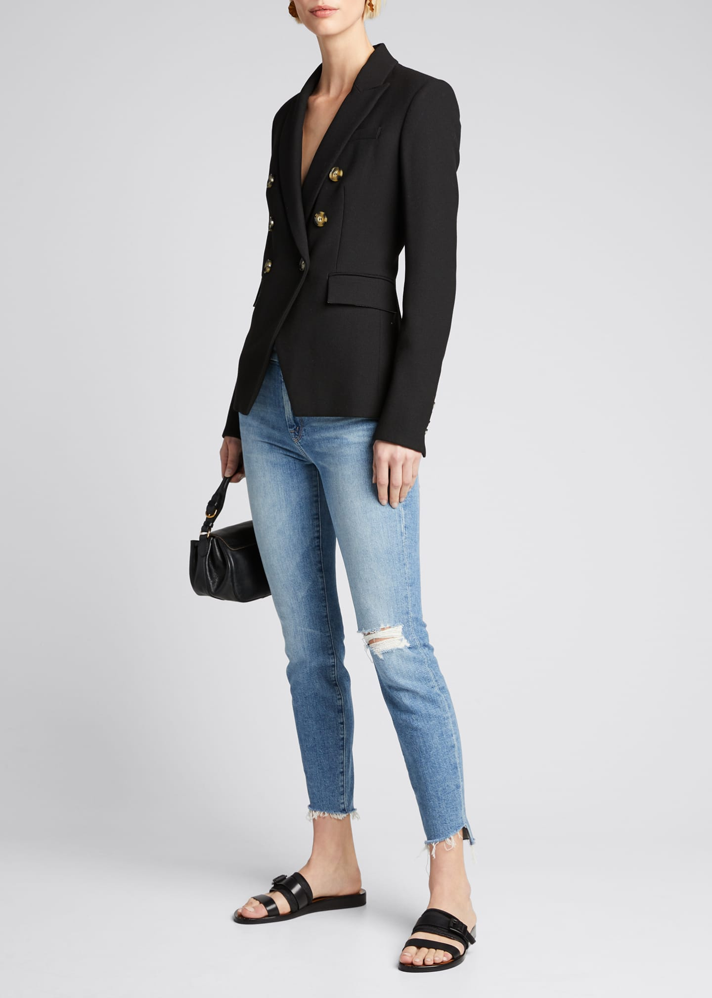 Image 1 of 5: The Looker Frayed Step-Hem Ankle Jeans