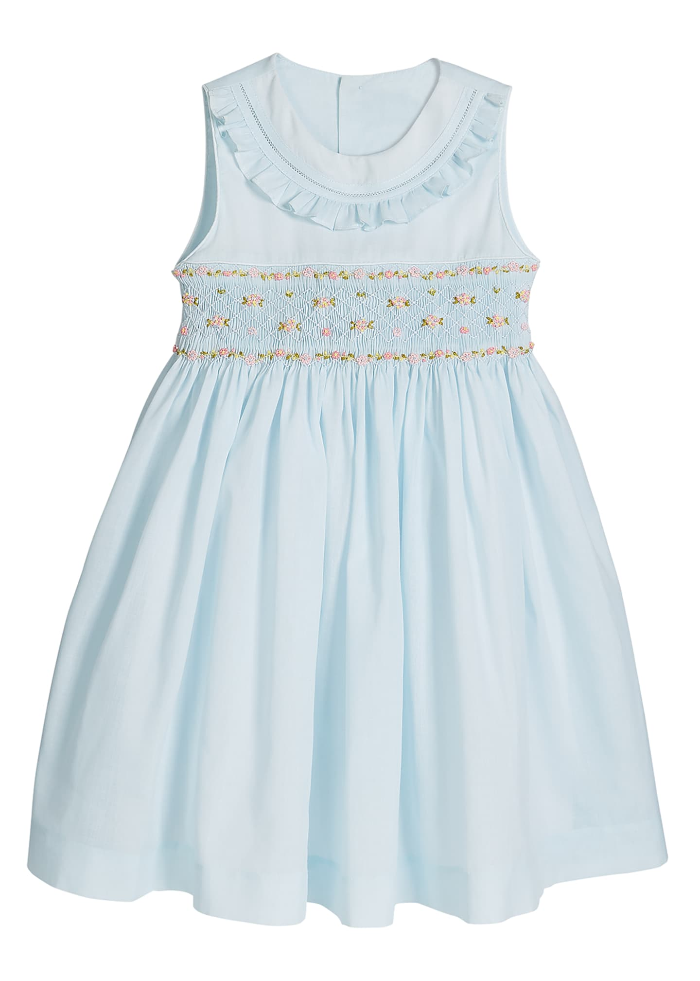 Image 1 of 2: Girl's Blue Smocked Dress, Size 4-6X