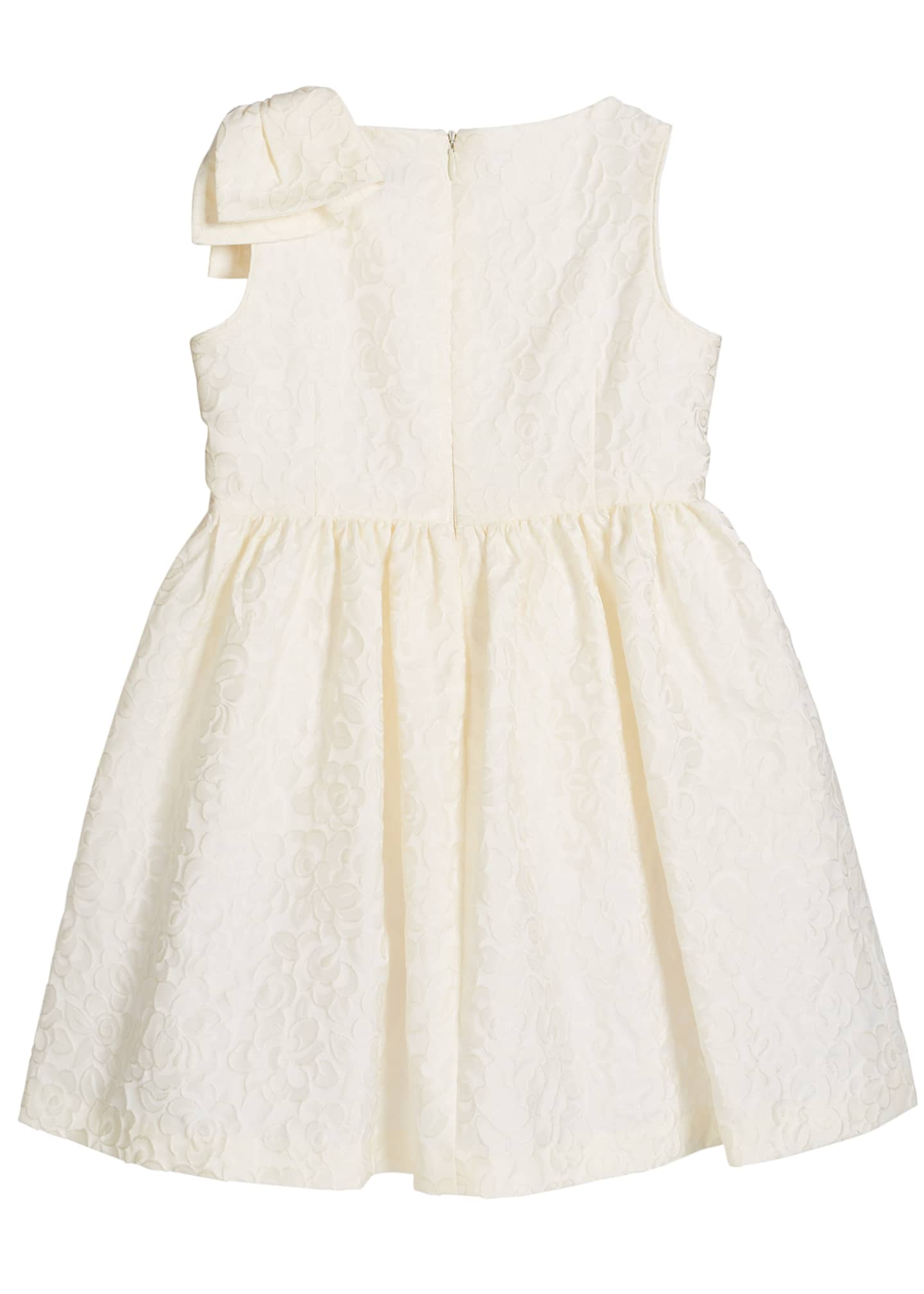 Image 2 of 2: Girl's Ivory Dress with Bow Shoulder, Size 5-6X