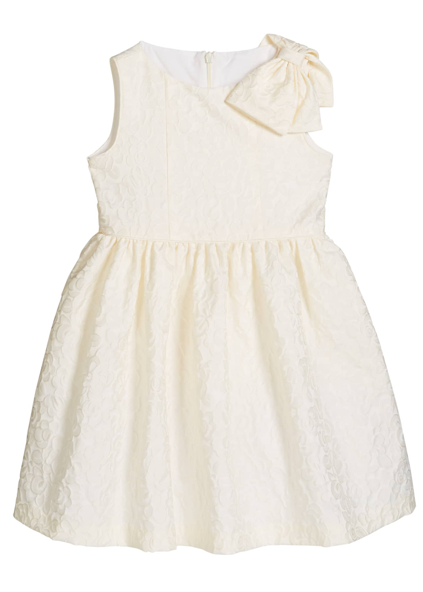 Image 1 of 2: Girl's Ivory Dress with Bow Shoulder, Size 5-6X