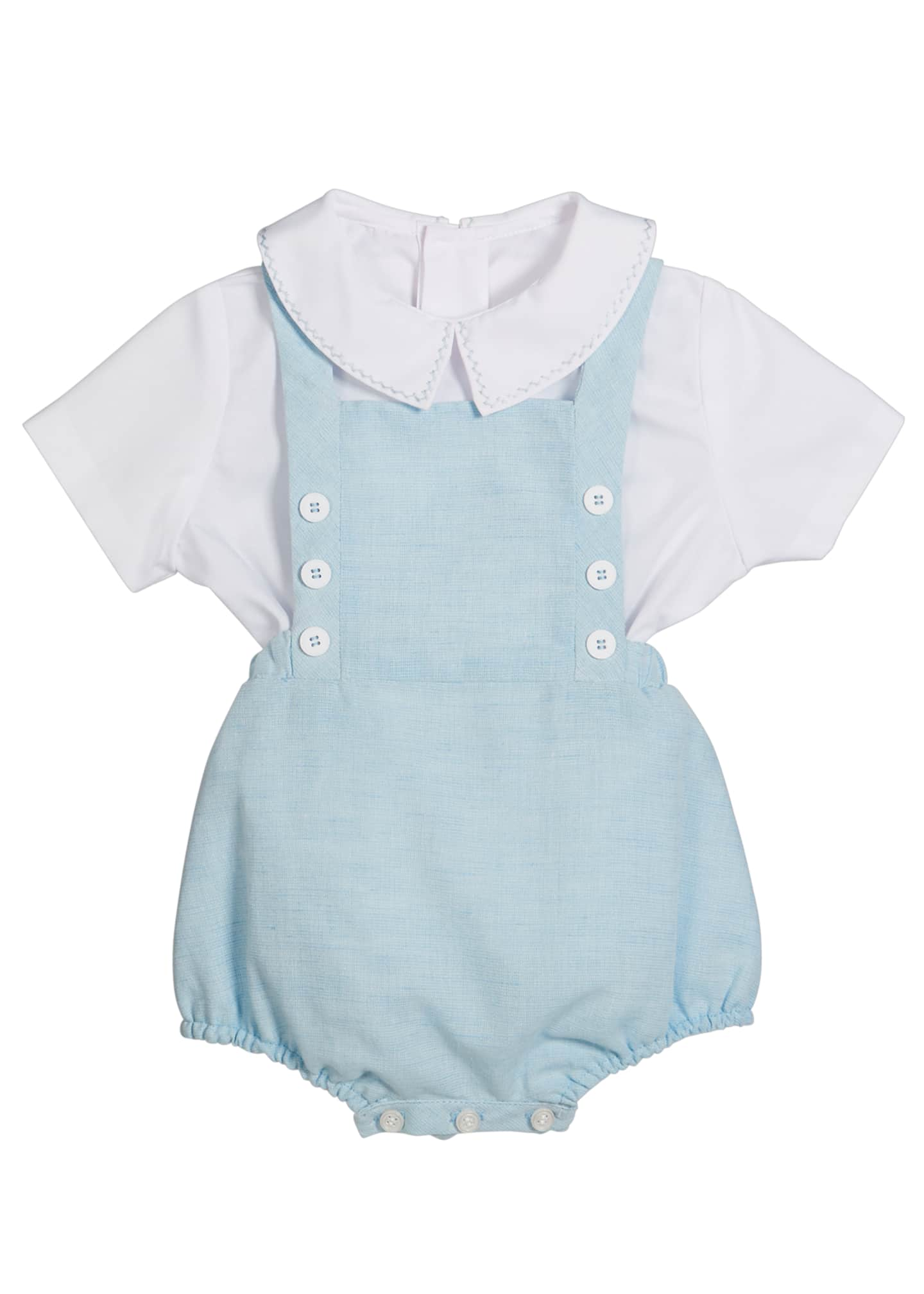 Image 1 of 2: Short-Sleeve Top w/ Linen Romper, Size 3-9 Months