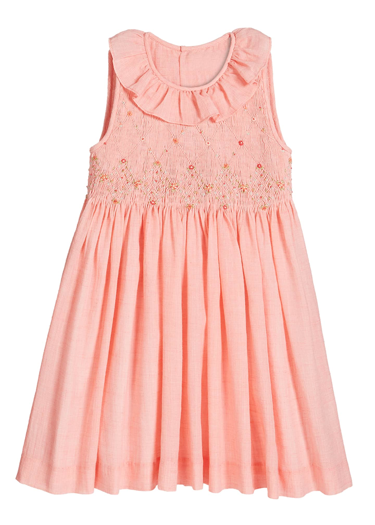 Image 1 of 2: Girl's Coral Smocked Dress, Size 4-6X