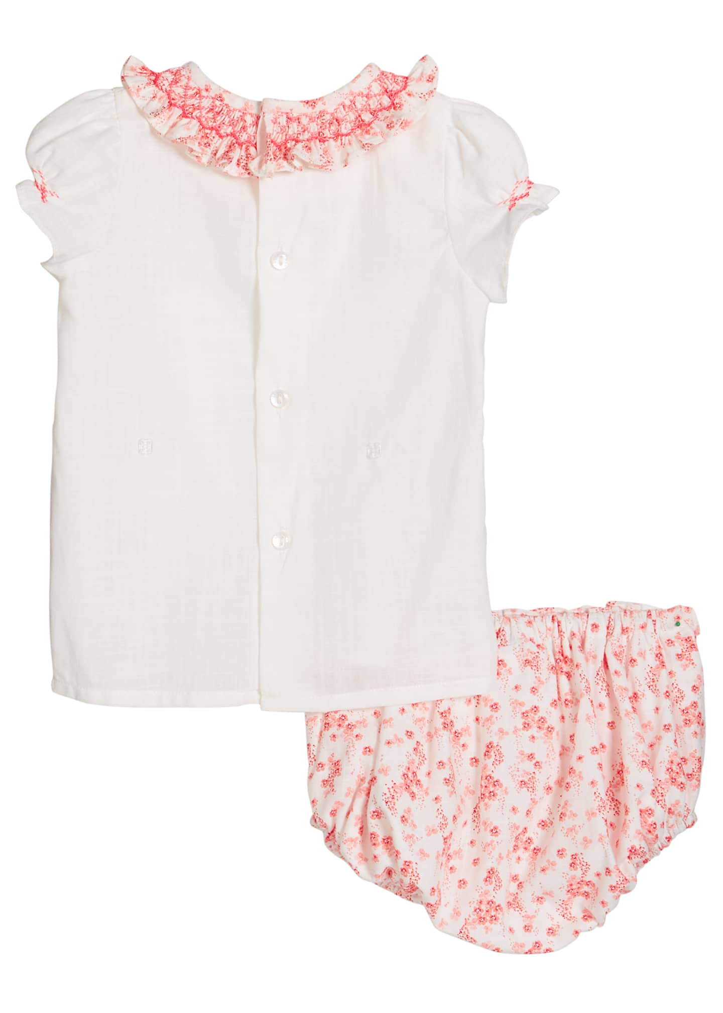 Image 2 of 2: Girl's Coral Floral-Print Smocked Top w/ Bloomers, Size 3-9 Months