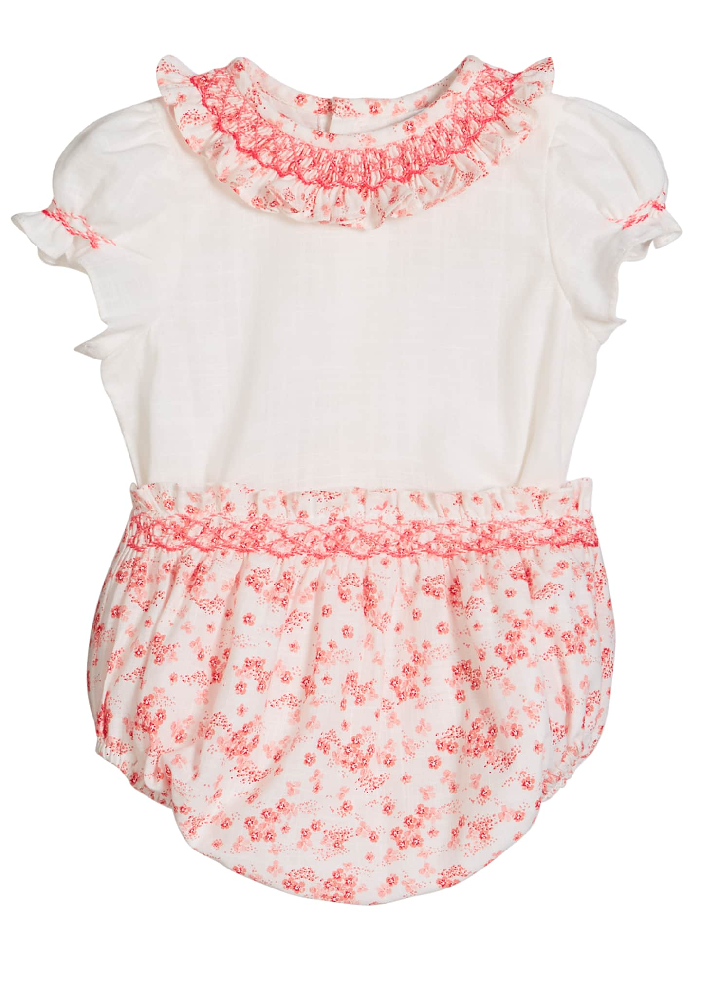 Image 1 of 2: Girl's Coral Floral-Print Smocked Top w/ Bloomers, Size 3-9 Months
