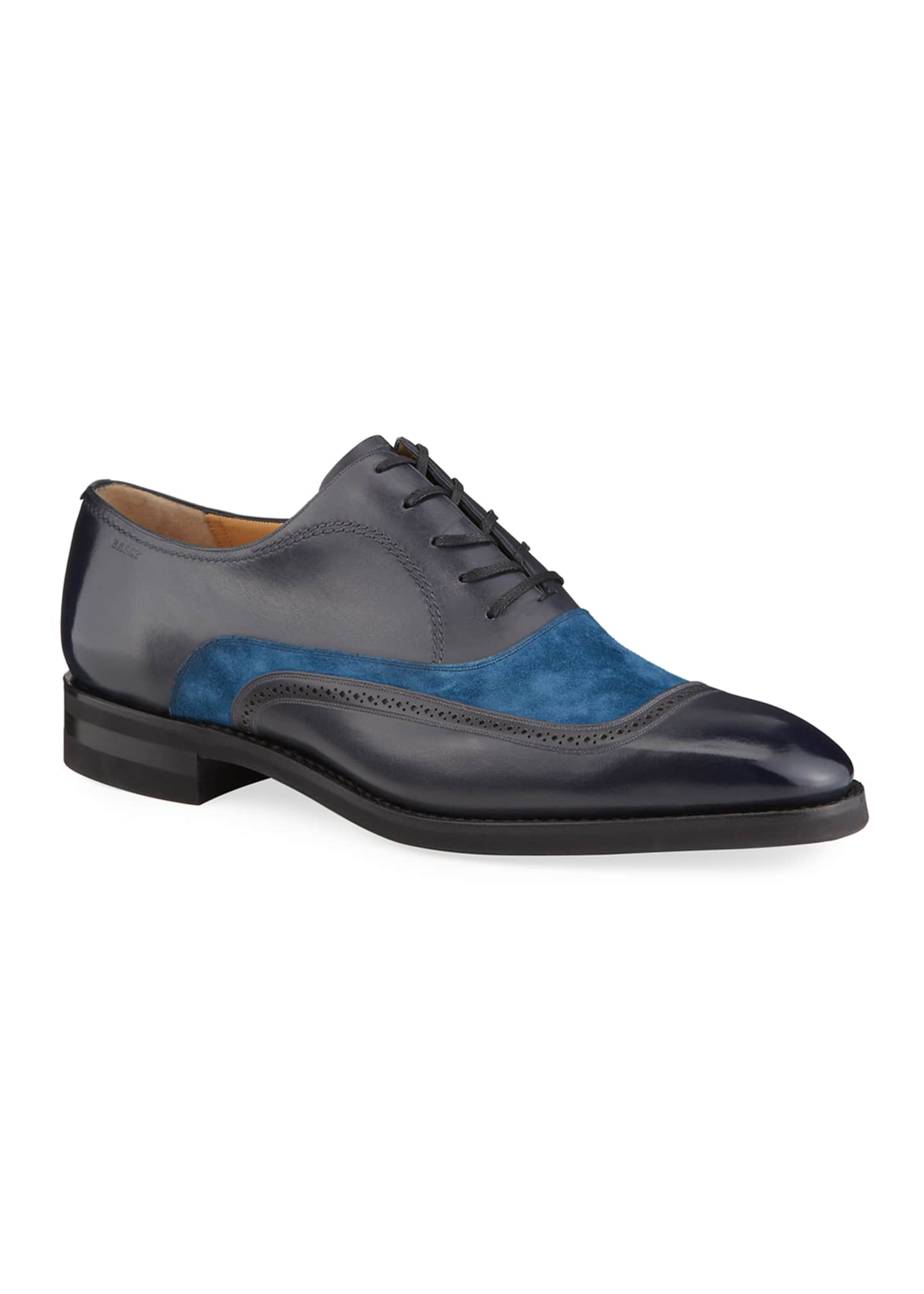 Image 2 of 4: Men's Contrast-Suede Leather Dress Shoes