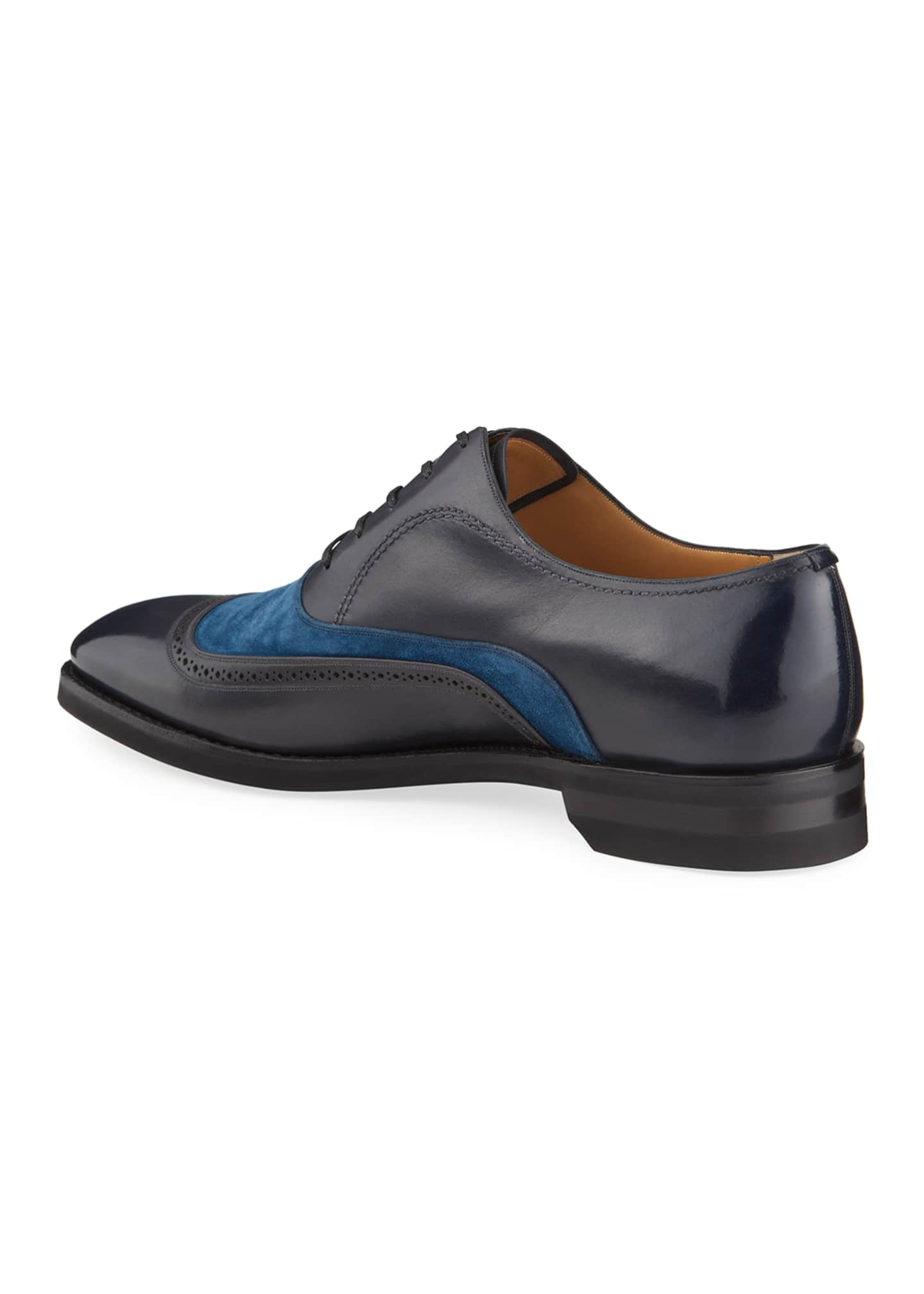 Image 3 of 4: Men's Contrast-Suede Leather Dress Shoes