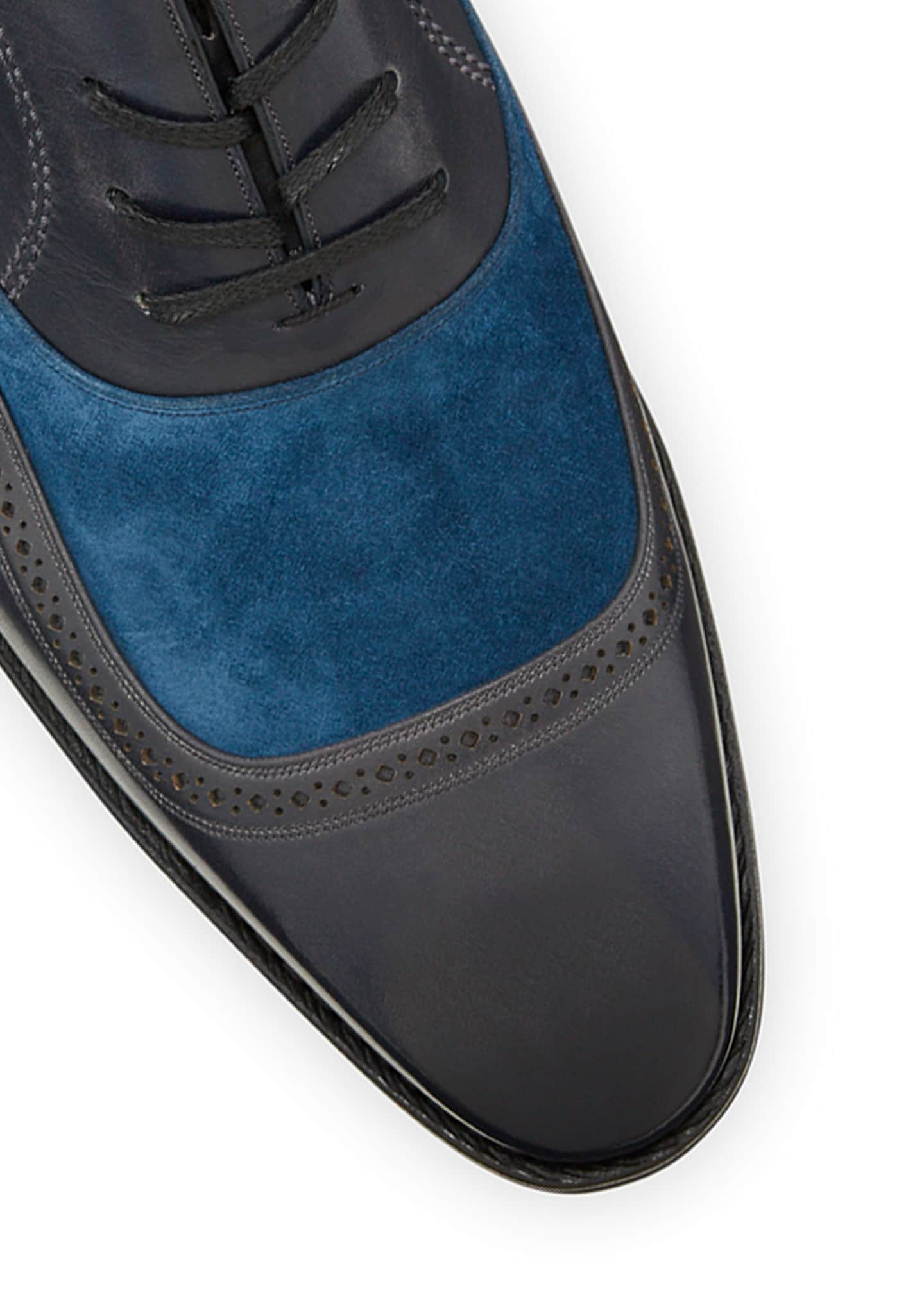Image 4 of 4: Men's Contrast-Suede Leather Dress Shoes