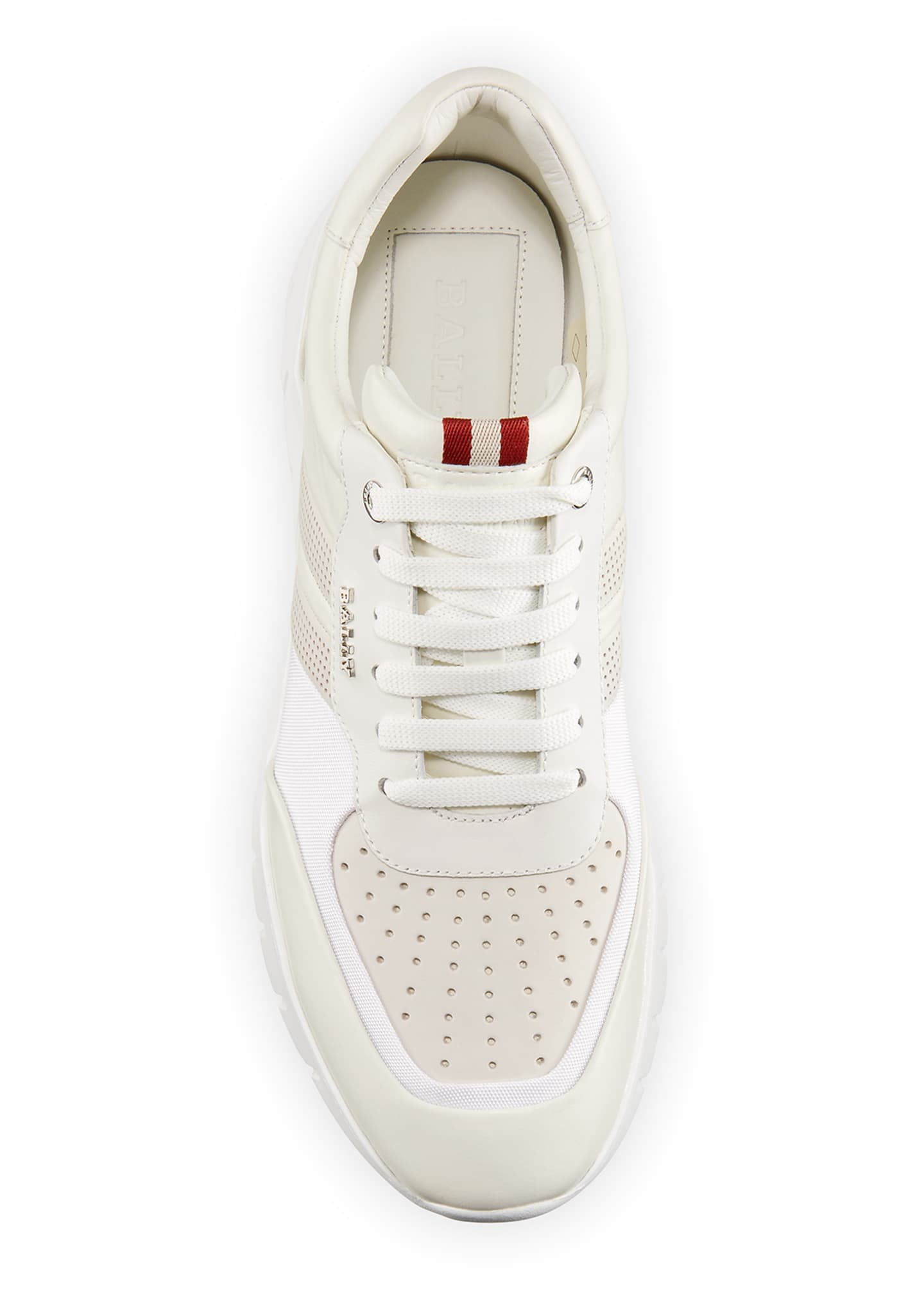 Image 2 of 4: Men's Bison Perforated Lamb Leather Sneakers