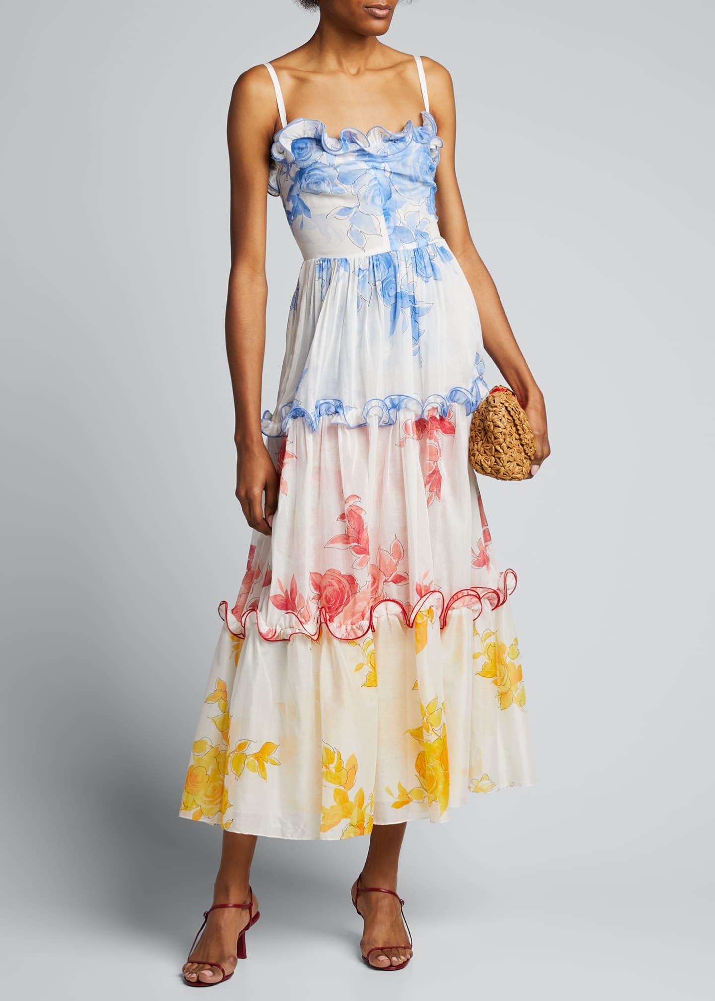 Lela Rose Rose Drawn Voile Ruffle-Trim Maxi Dress