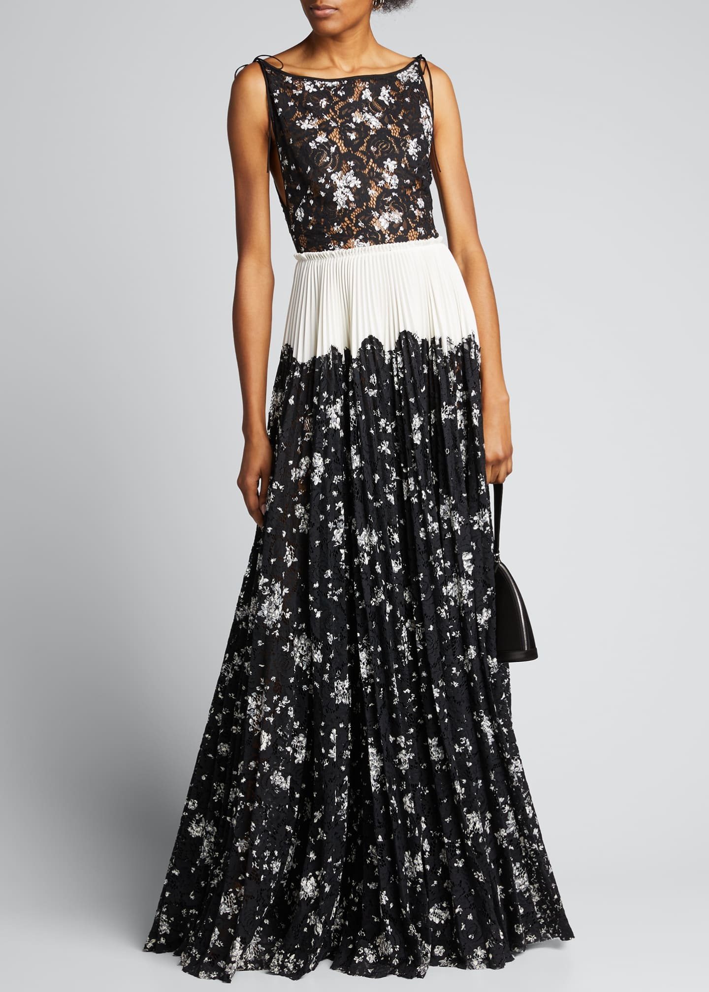 Lela Rose Floral Printed Corded Lace Pleated Boatneck