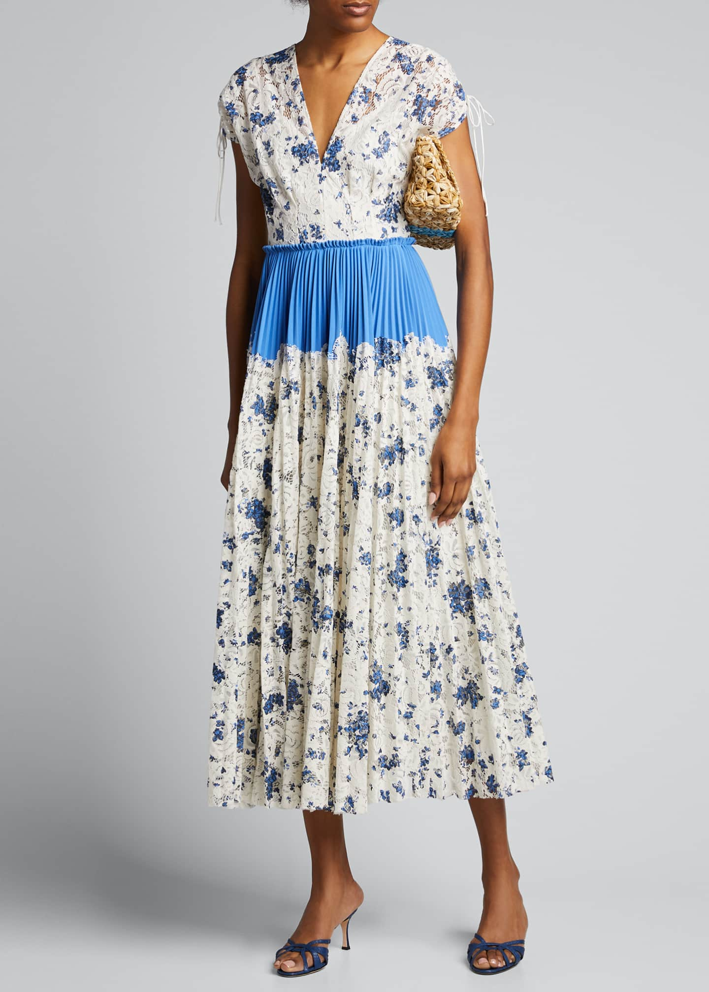 Lela Rose Floral Printed Corded Lace Pleated Dress