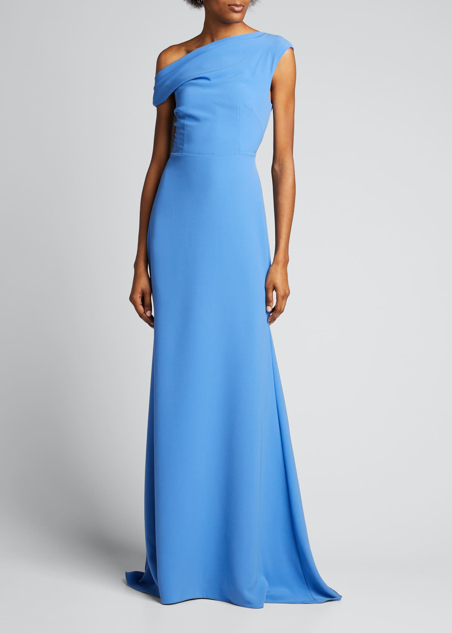 Off-the-Shoulder Fluid Crepe Gown