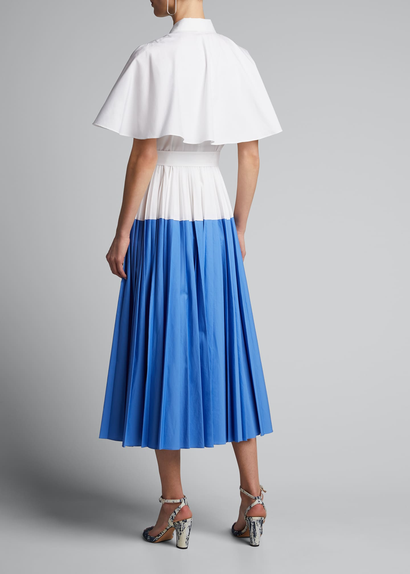 Image 2 of 5: Cotton Poplin Pleated Cape-Back Shirtdress