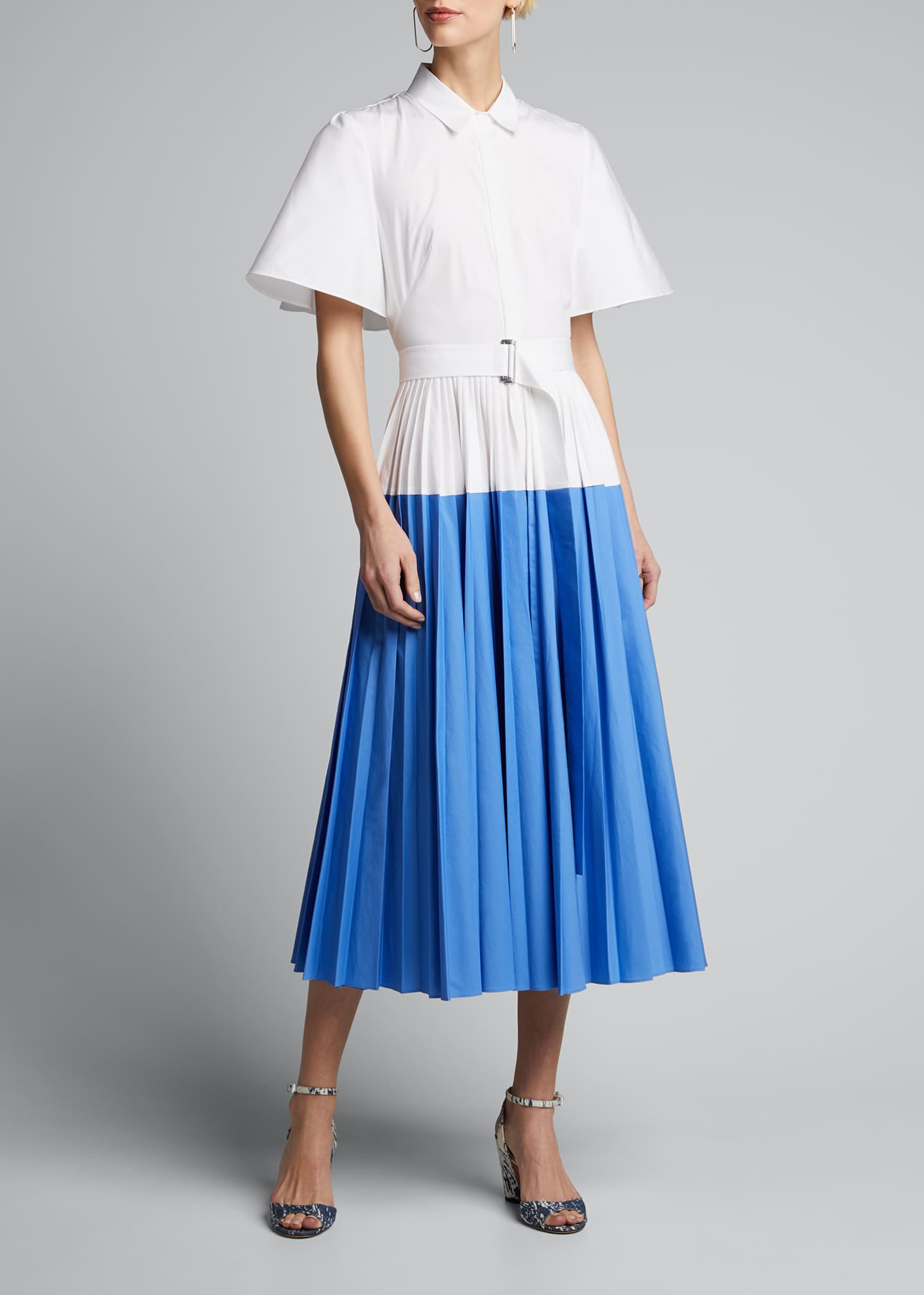 Image 3 of 5: Cotton Poplin Pleated Cape-Back Shirtdress