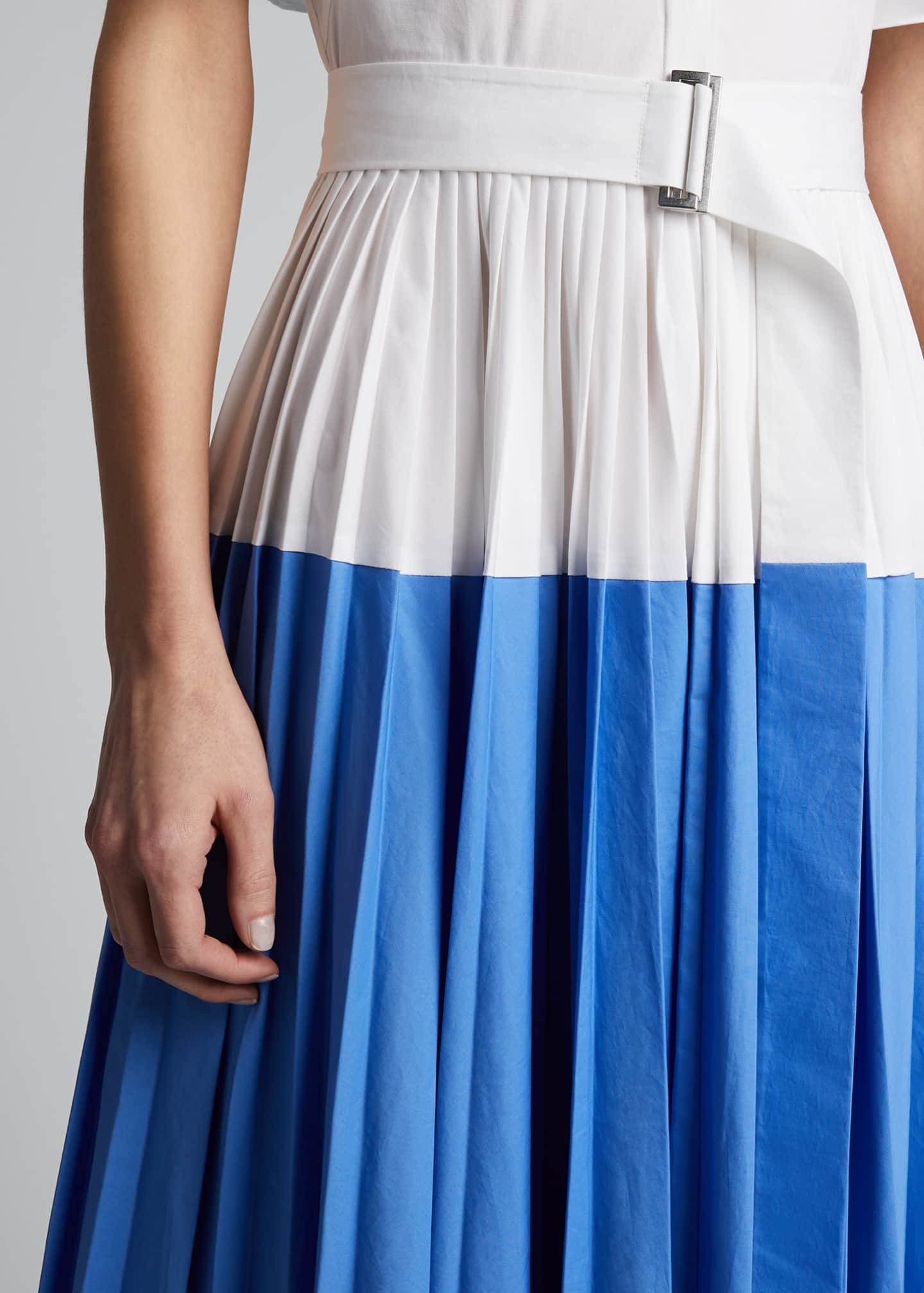 Image 4 of 5: Cotton Poplin Pleated Cape-Back Shirtdress