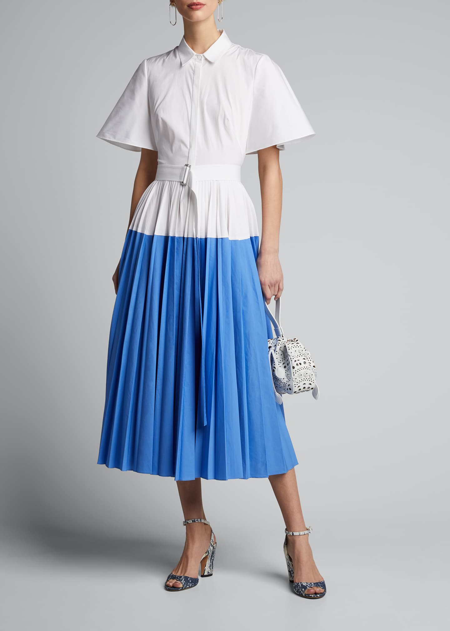Image 1 of 5: Cotton Poplin Pleated Cape-Back Shirtdress