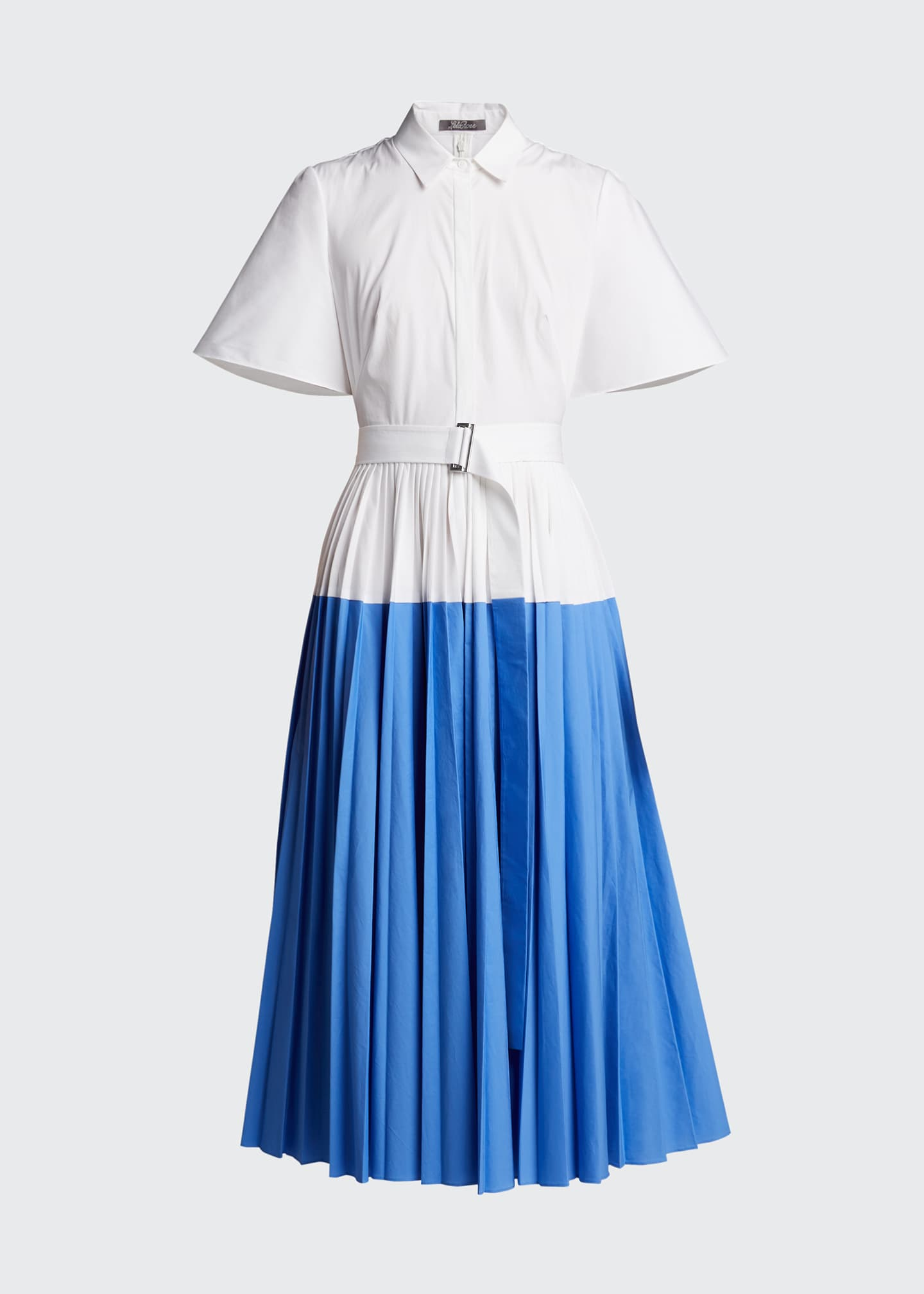 Image 5 of 5: Cotton Poplin Pleated Cape-Back Shirtdress