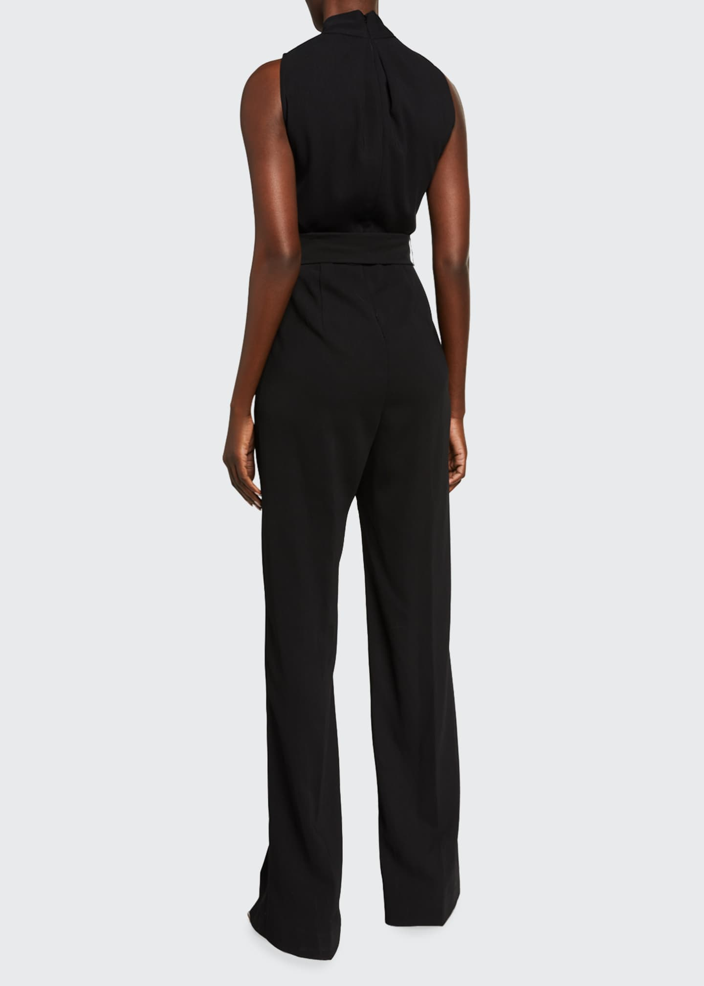 Image 2 of 2: Fluid Crepe V-Neck Sleeveless Belted Jumpsuit