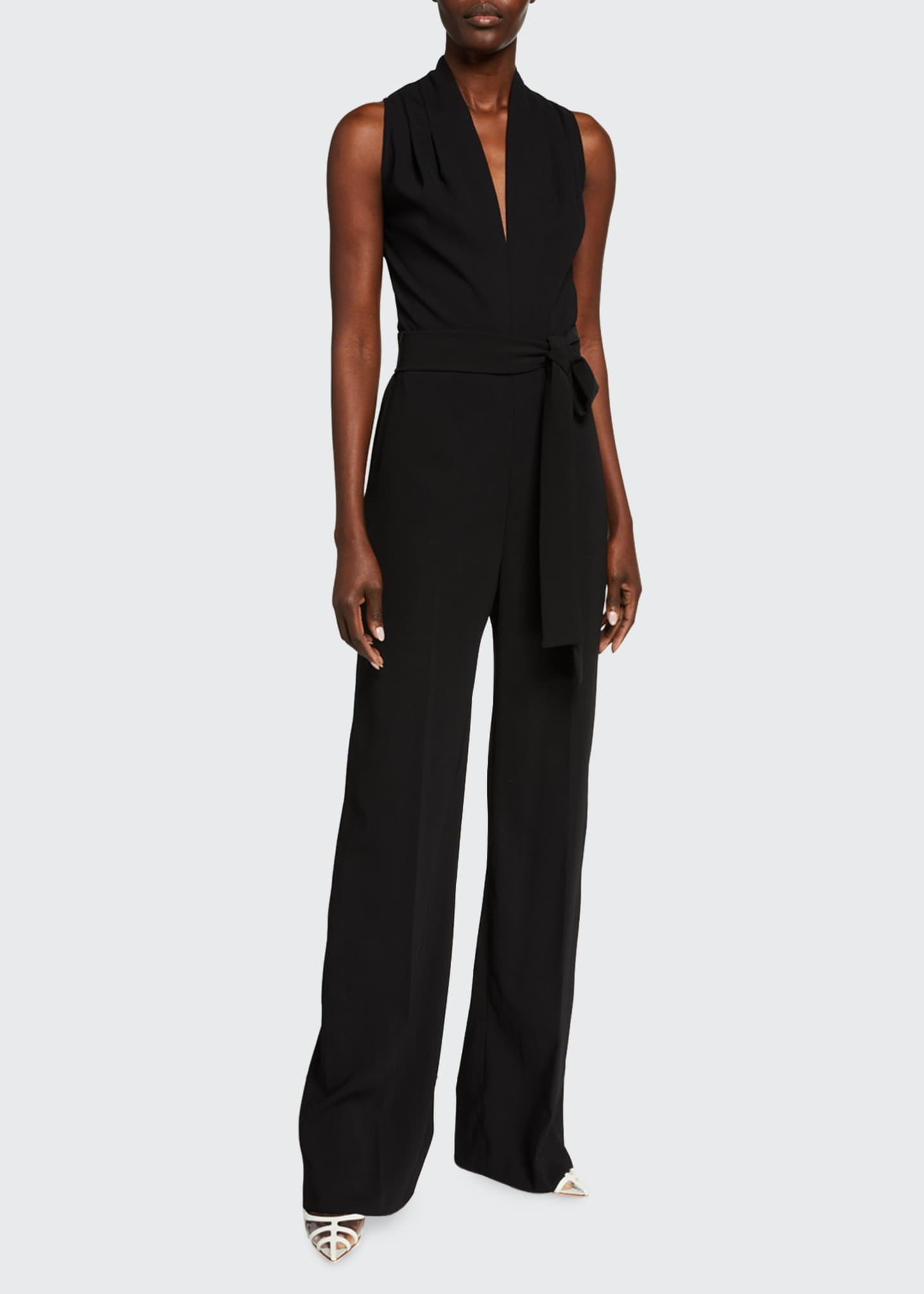 Image 1 of 2: Fluid Crepe V-Neck Sleeveless Belted Jumpsuit