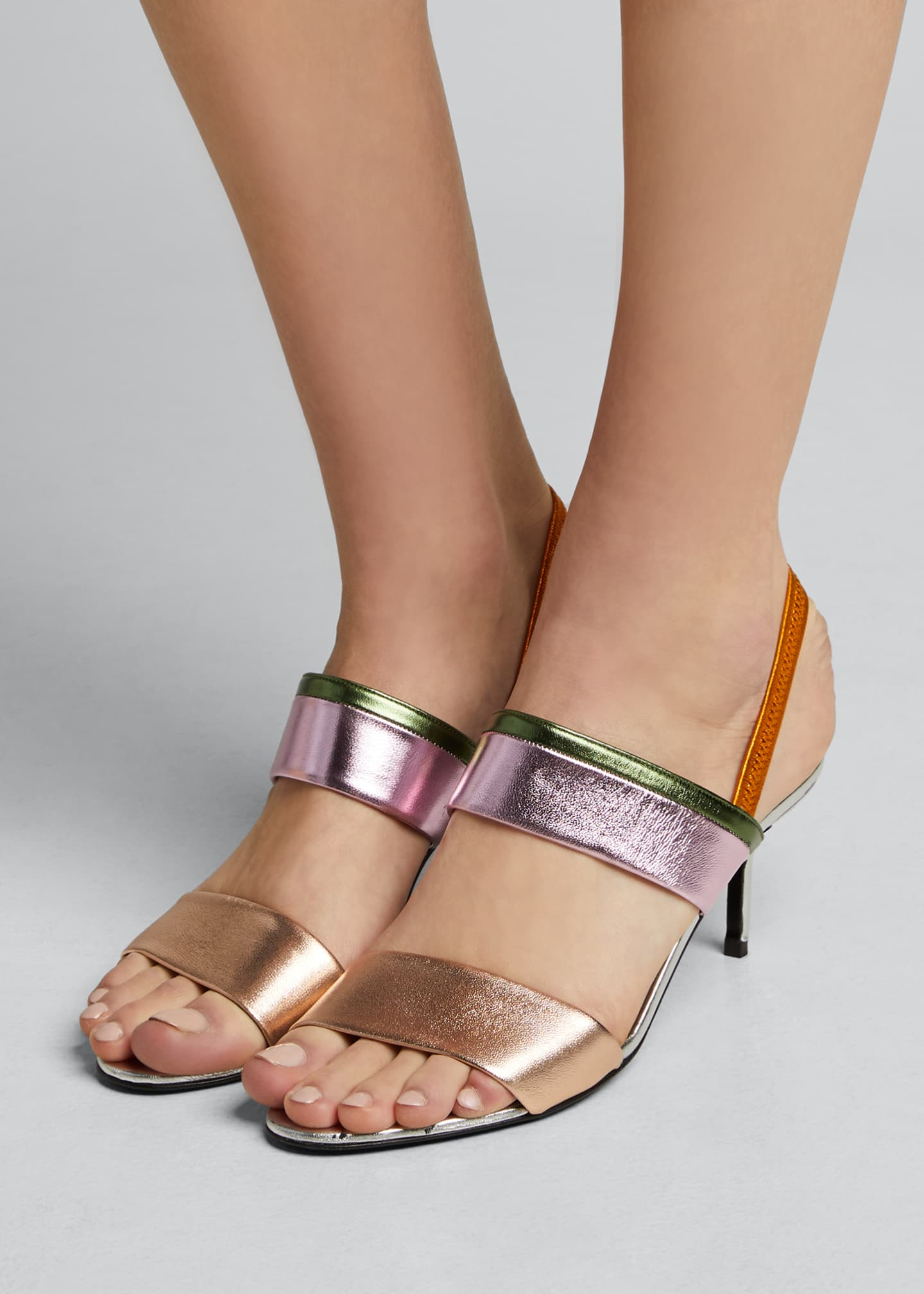 Image 2 of 5: Alpha Party Metallic Slingback Sandals